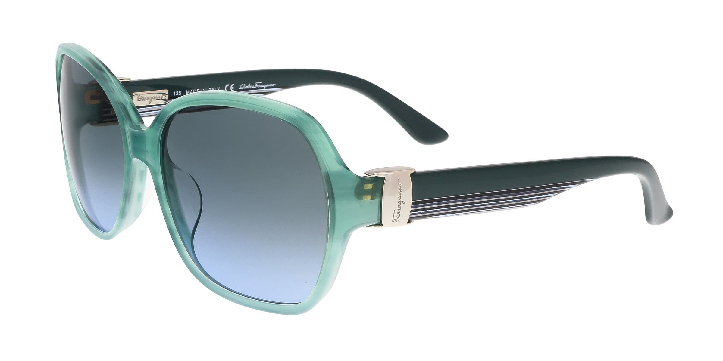 Salvatore Ferragamo SF650S 336 Sea Green Square Feline Sunglasses