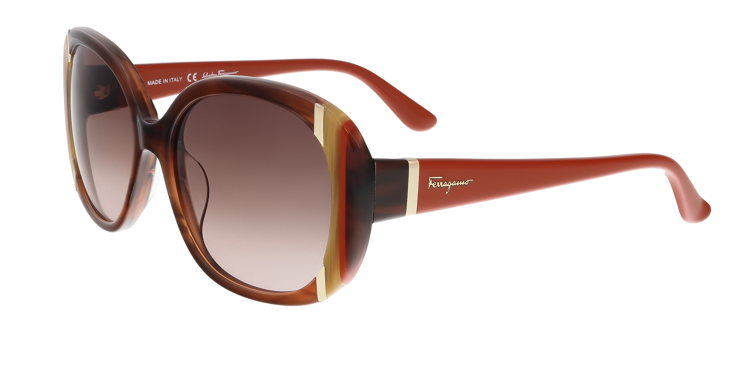 Salvatore Ferragamo SF674/S 217 Brown Horn Oval Feline Sunglasses