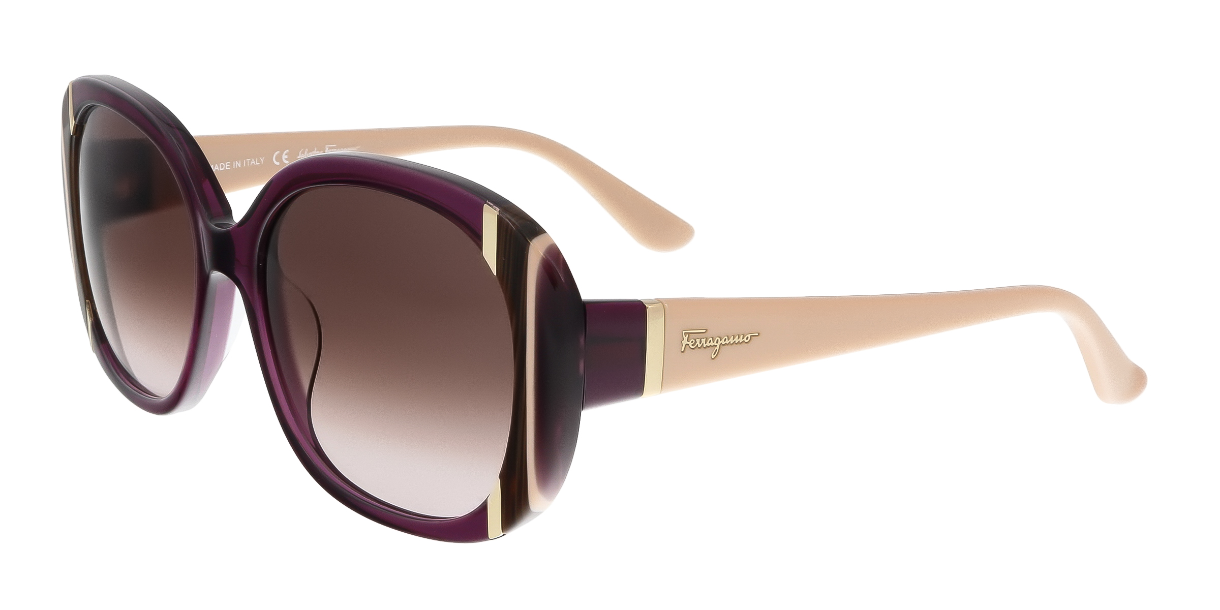 Salvatore Ferragamo SF674/S 500 Shiny Violet Oval Feline Sunglasses