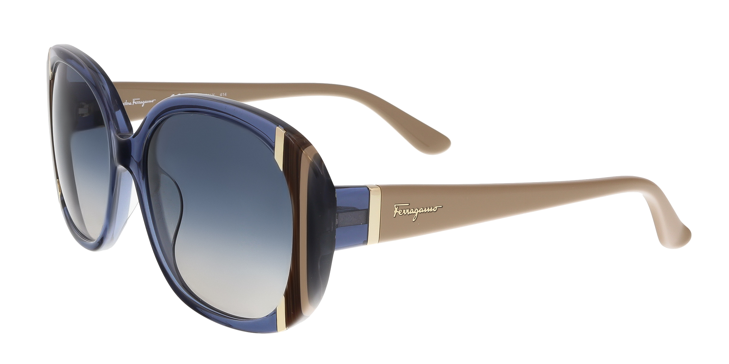 Salvatore Ferragamo SF674/S 424 Blue Oval Feline Sunglasses