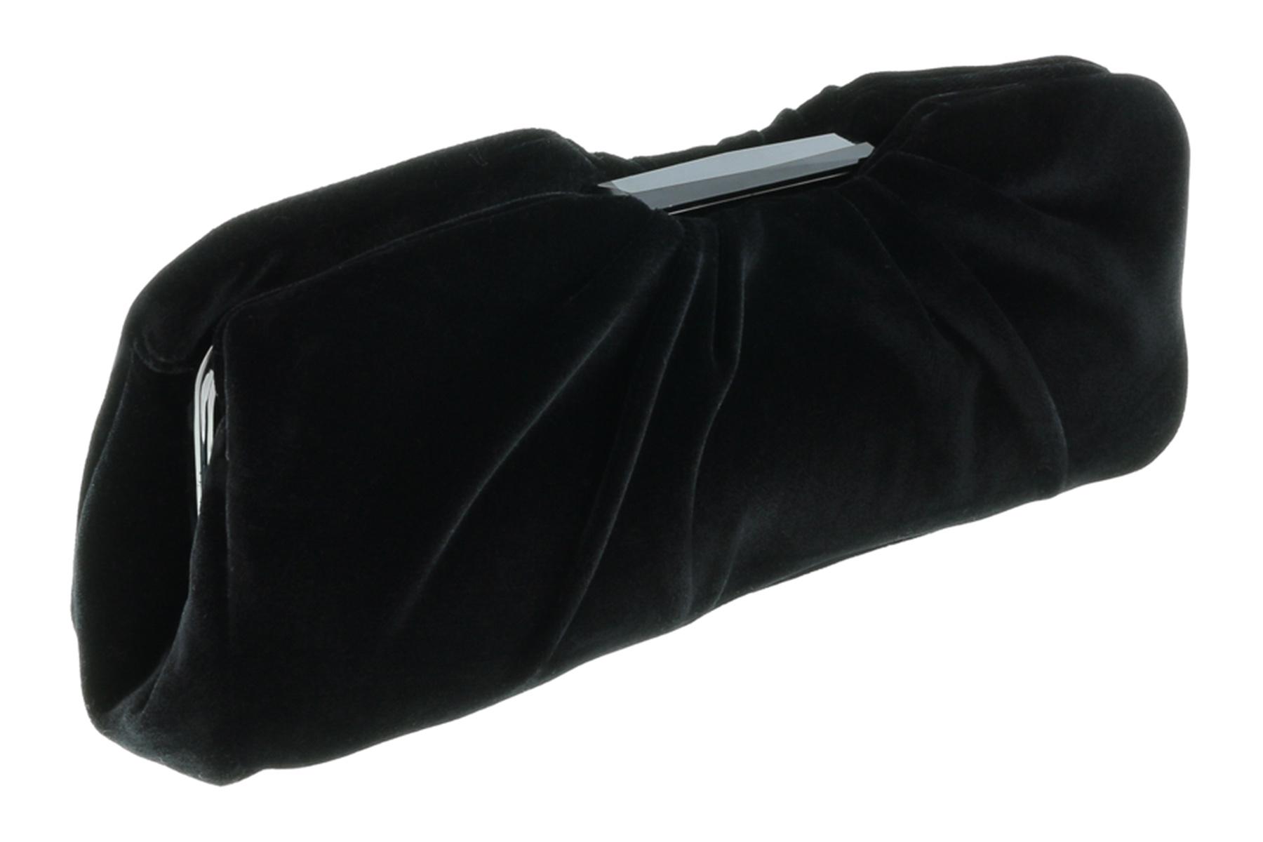 Scheilan  Black Velvet Ruched Clutch