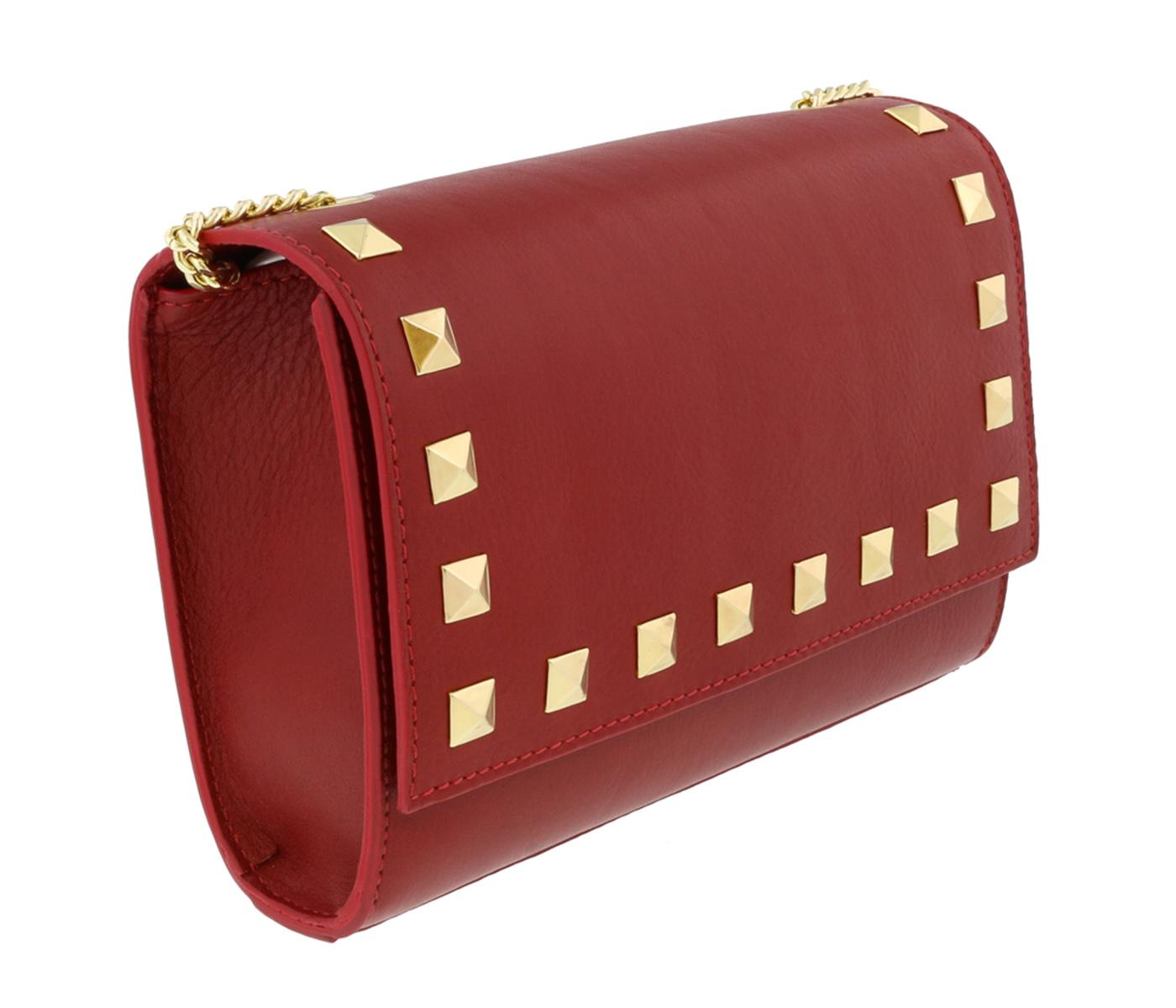 Scheilan Cherry Red Leather Studded Flap  Shoulder Bag