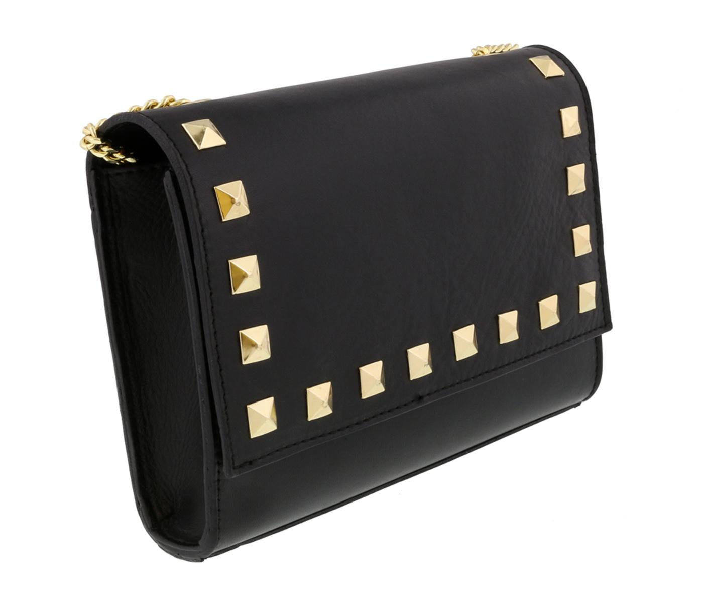 Scheilan  Black Leather Studded Flap  Shoulder Bag