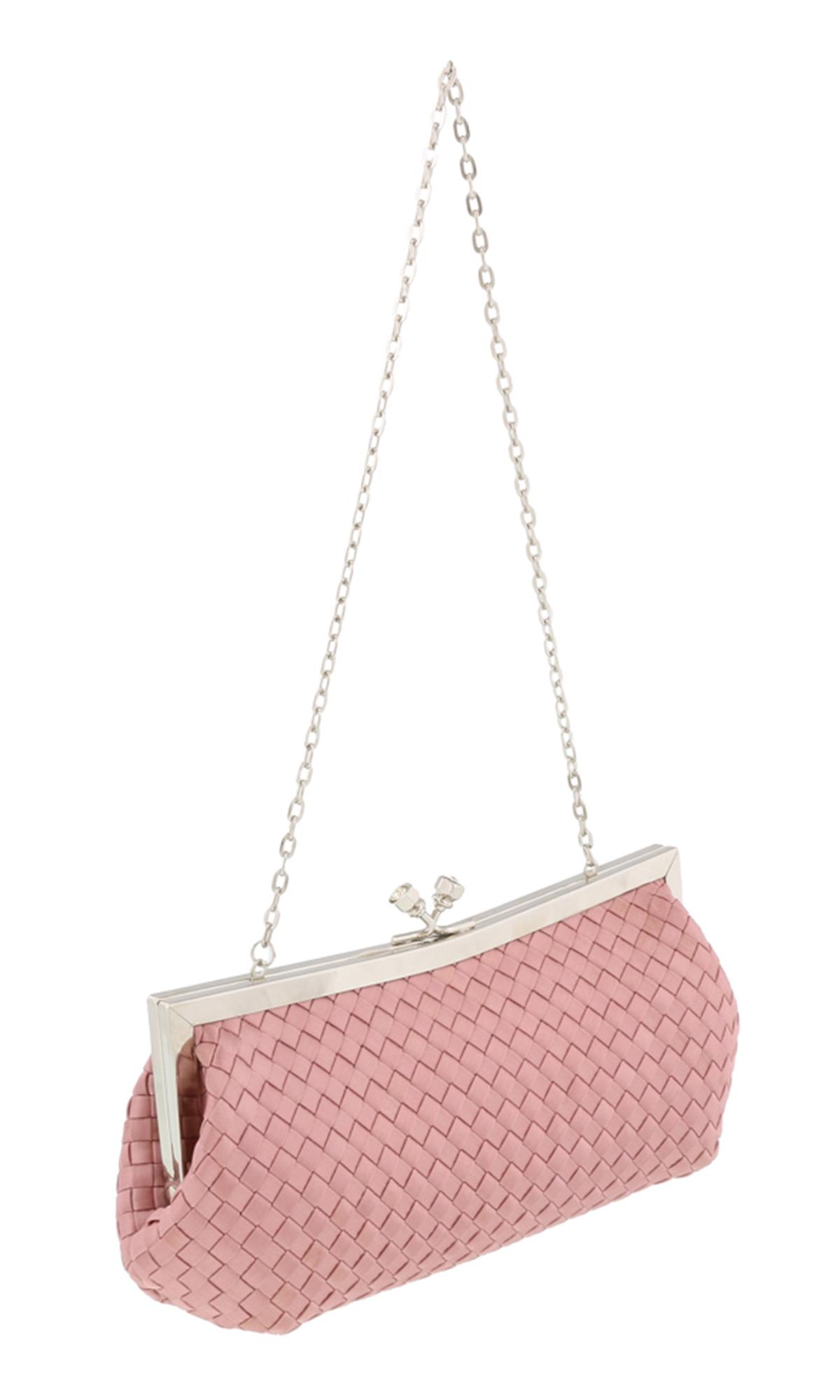 Scheilan  Rose Fabric Weave Knot Clutch/Shoulder Bag