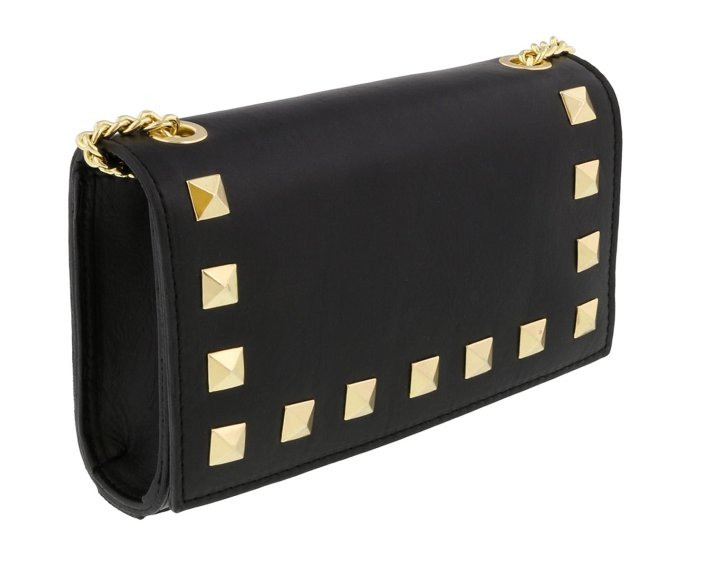 Scheilan  Black Leather Studded Mini Crossbody/Shoulder Bag