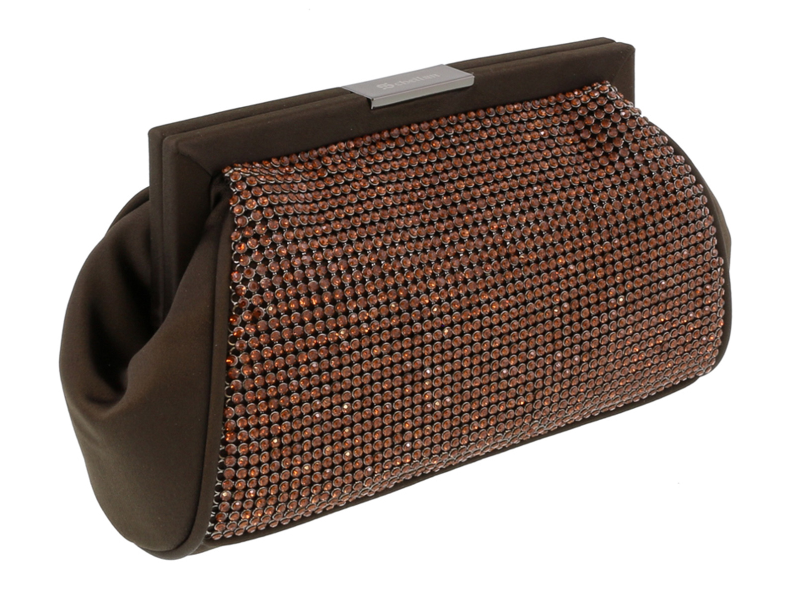 Scheilan  Brown Fabric Double Sided Crystal Paneled Clutch/Shoulder Bag