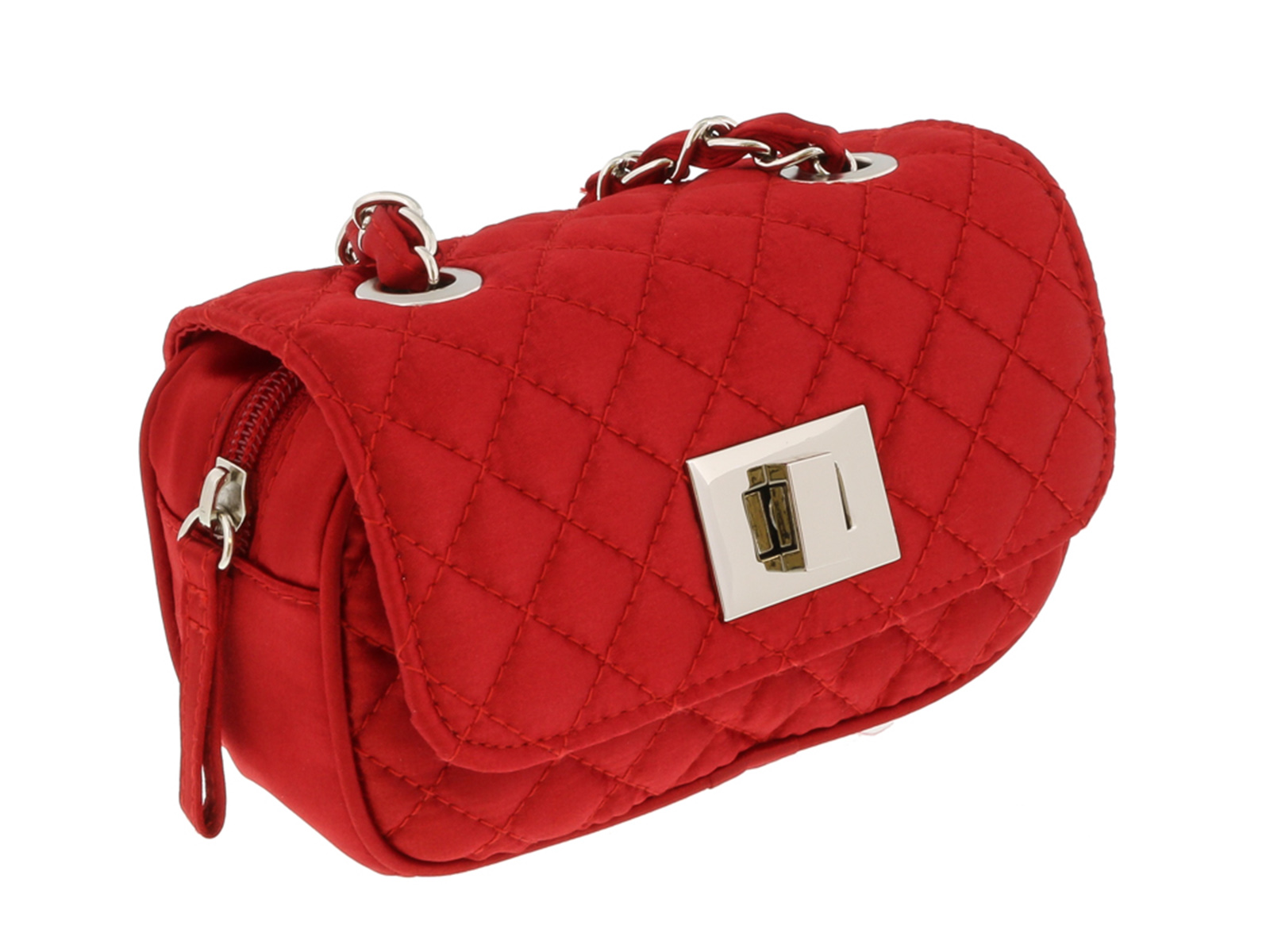 Scheilan  Red Satin Quilted Boxy Crossbody Bag
