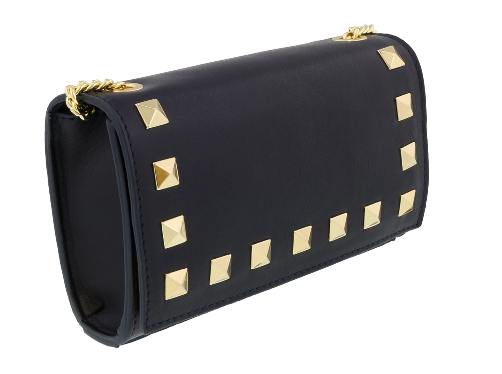 Scheilan  Navy Leather Studded Mini Crossbody/Shoulder Bag