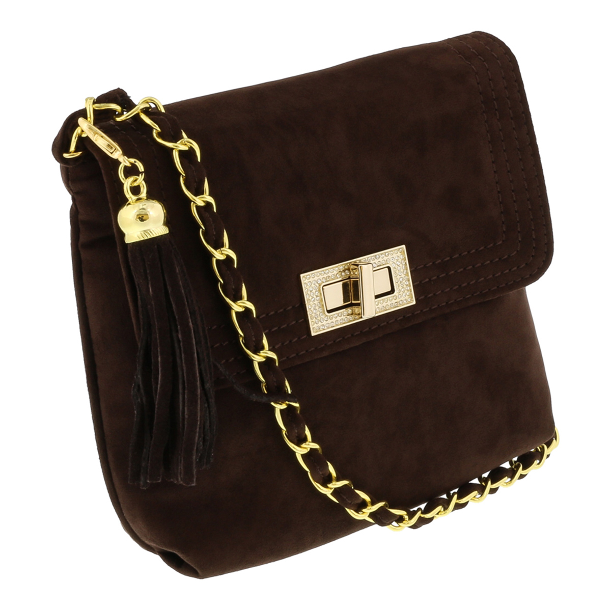Scheilan  Brown Suede  Tassle Clutch/Shoulder Bag