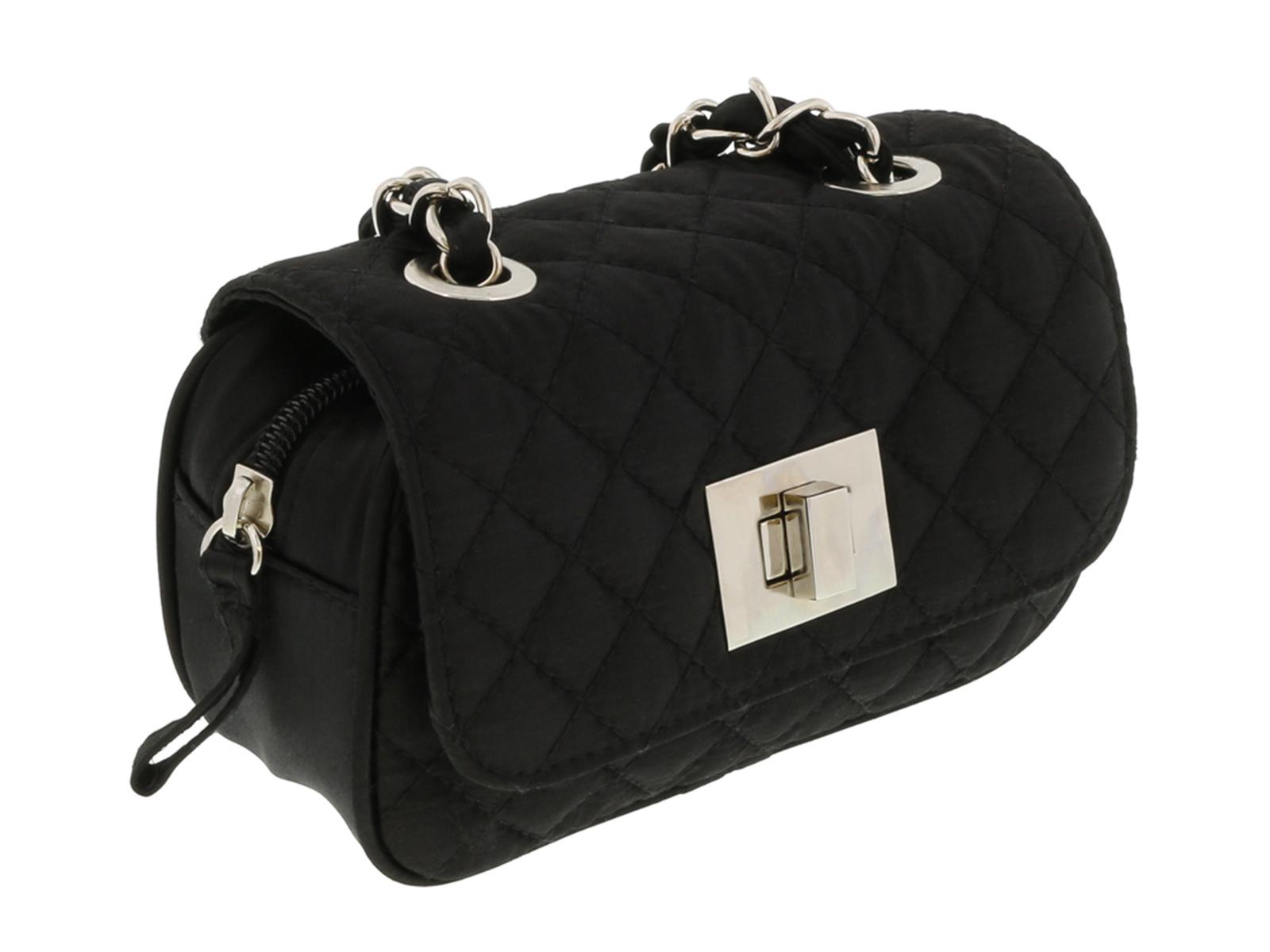 Scheilan  Black Satin Quilted Boxy Crossbody Bag