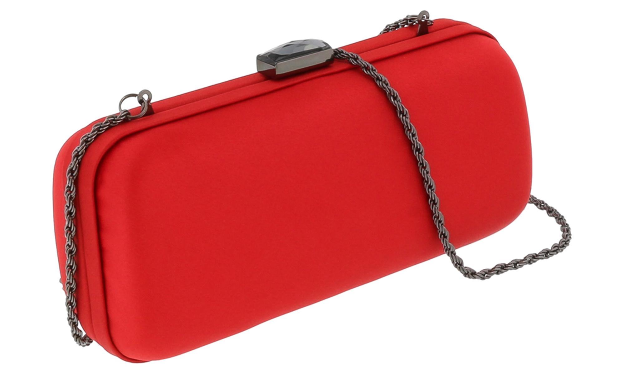 Scheilan  Crimson Red Satin Box Clutch