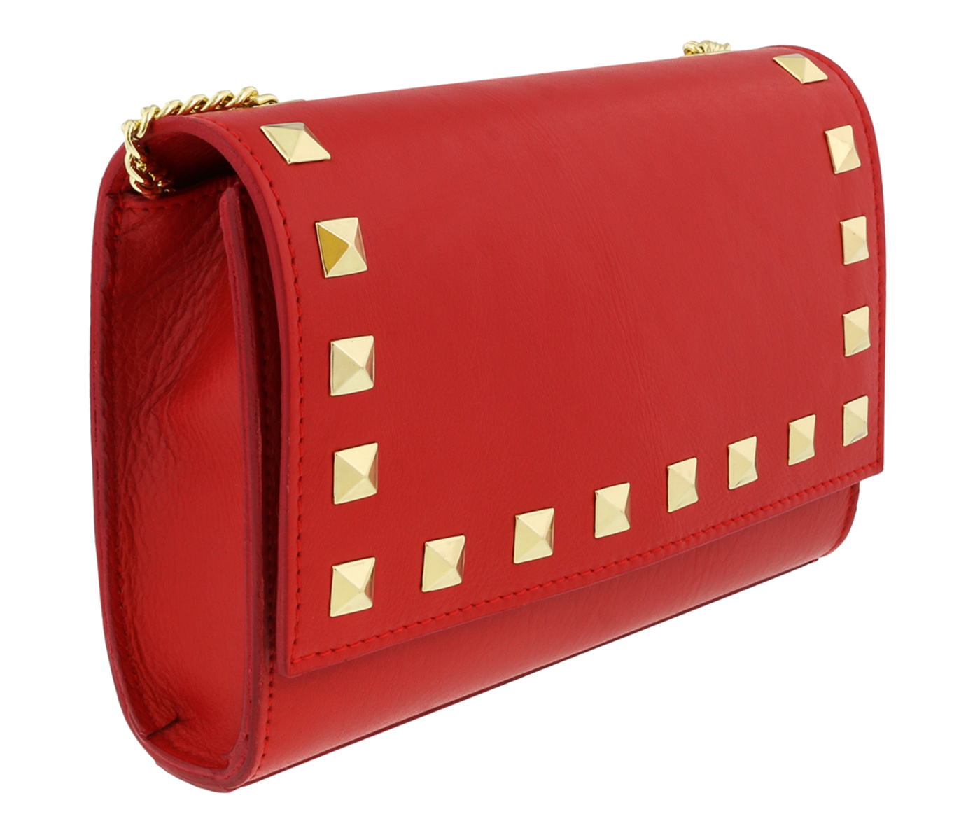 Scheilan Coral Red Leather Studded Flap  Shoulder Bag