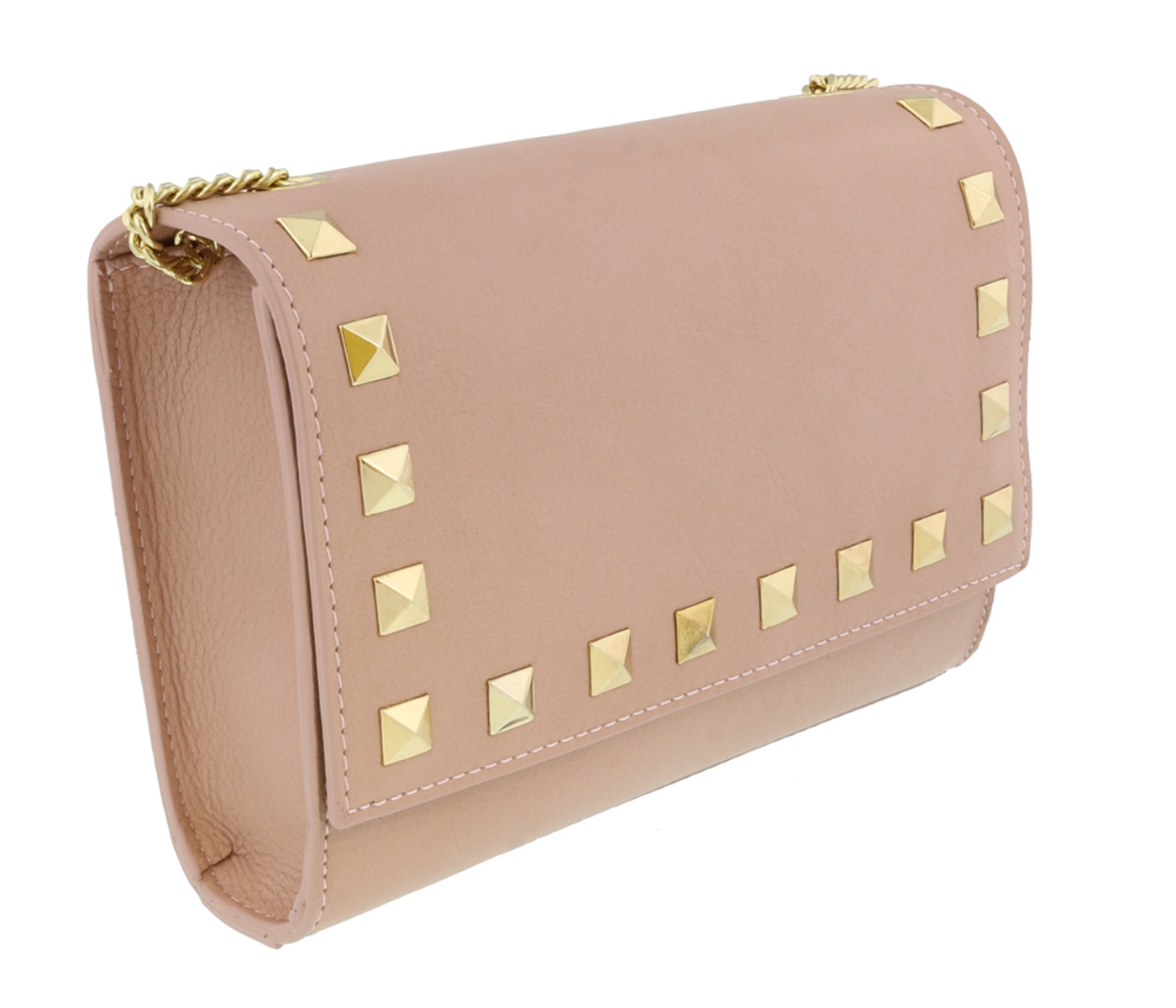 Scheilan  Powder Pink Leather Studded Flap  Shoulder Bag