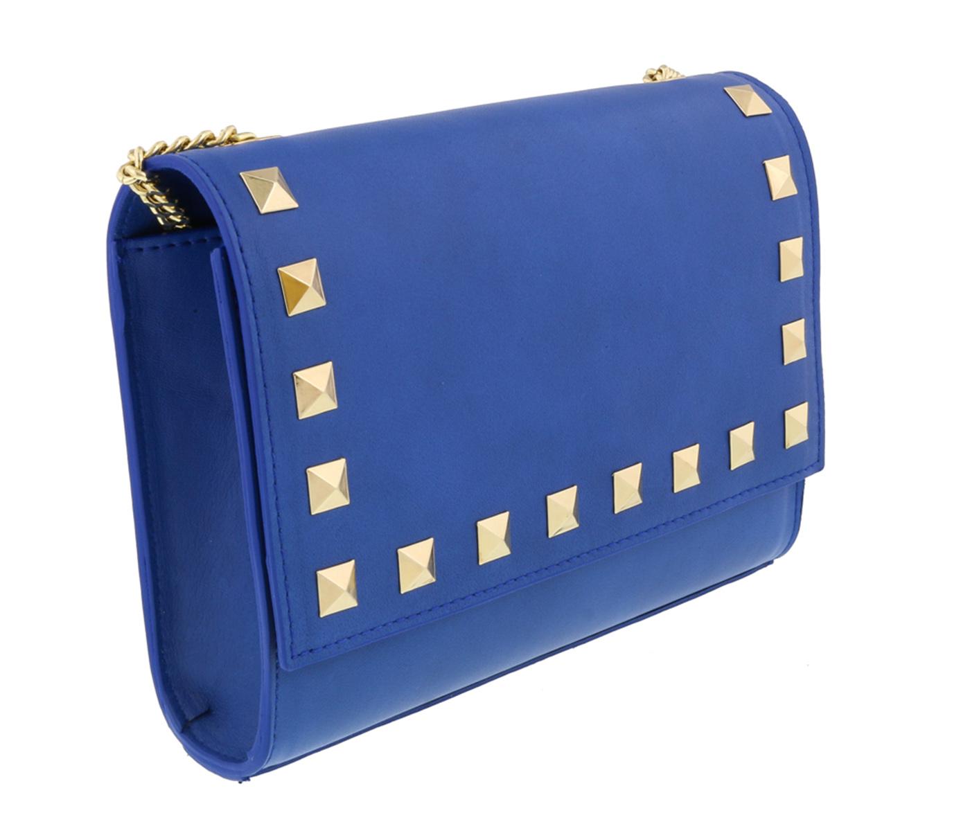 Scheilan  Electric Blue Leather Studded Flap  Shoulder Bag