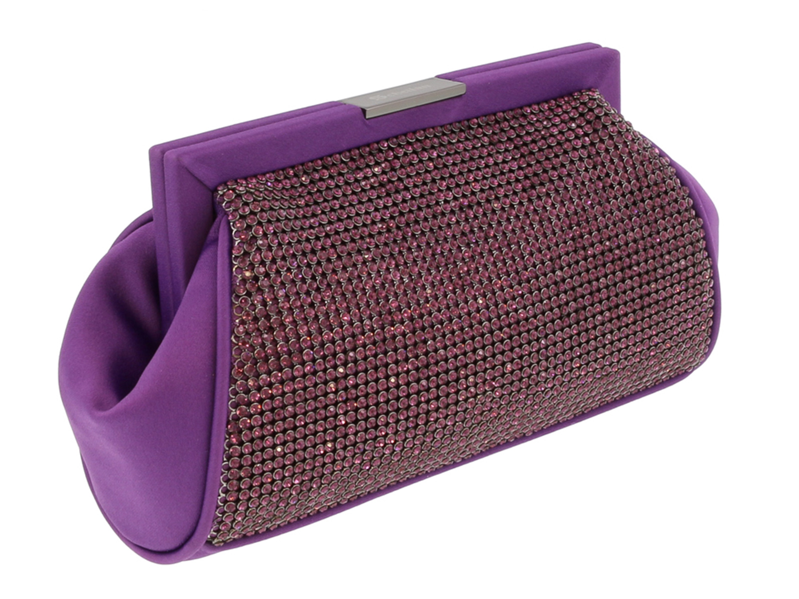 Scheilan  Purple Fabric Double Sided Crystal Paneled Clutch/Shoulder Bag