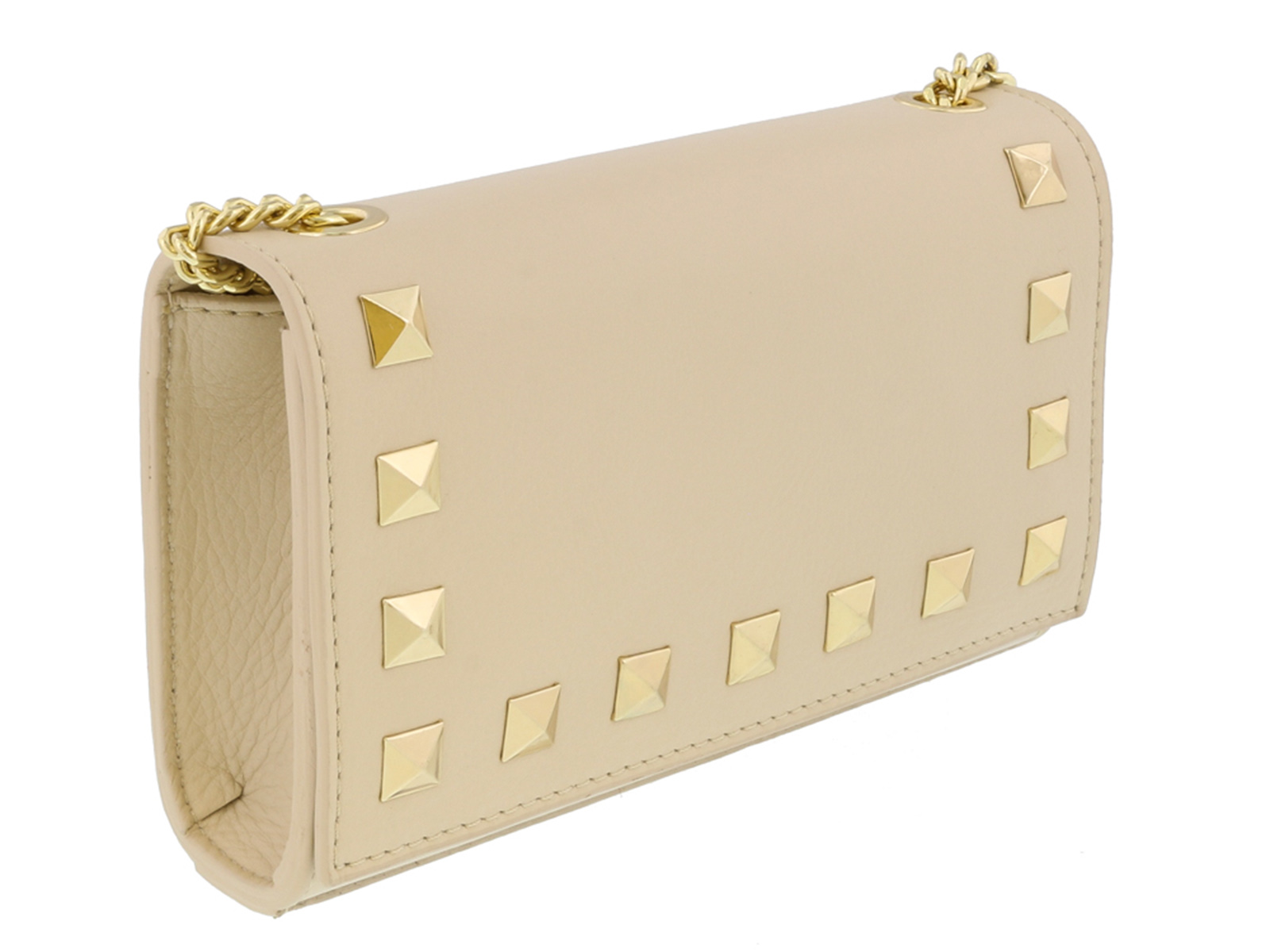 Scheilan  Beige Leather Studded Mini Crossbody/Shoulder Bag