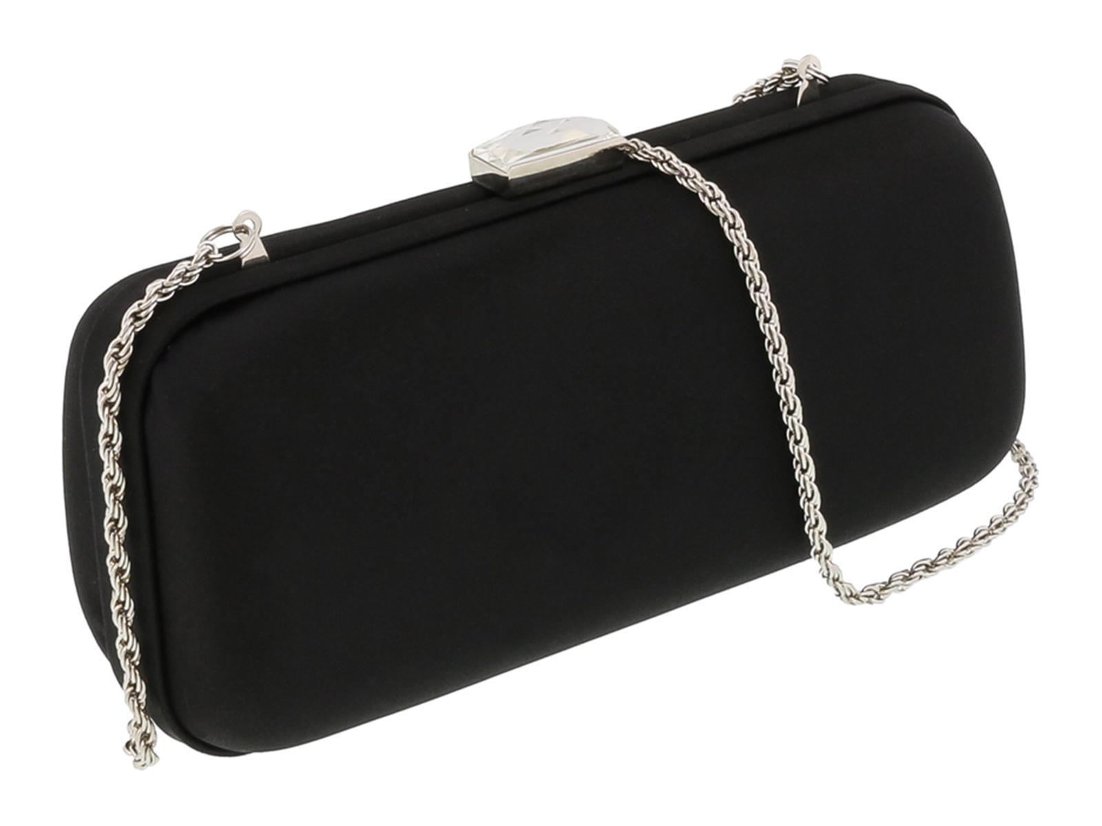 Scheilan  Black Satin Box Clutch