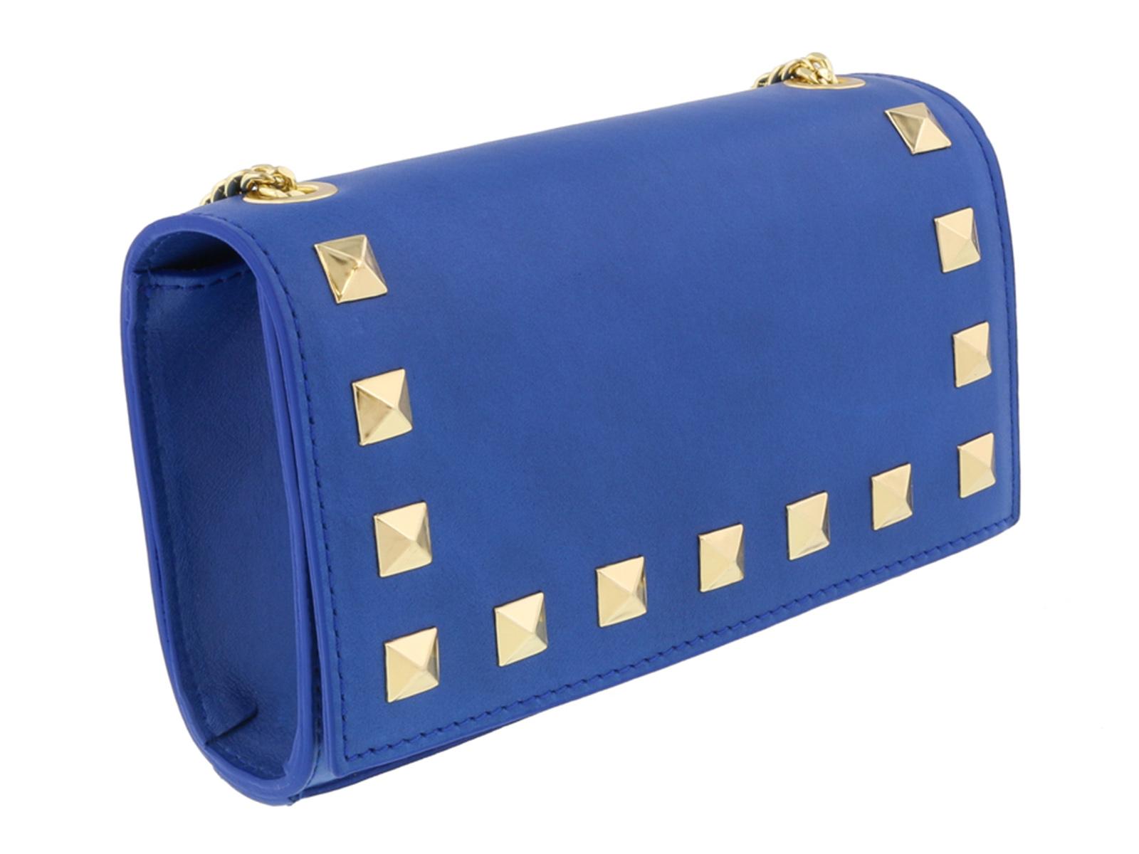 Scheilan  Electric Blue Leather Studded Mini Crossbody/Shoulder Bag