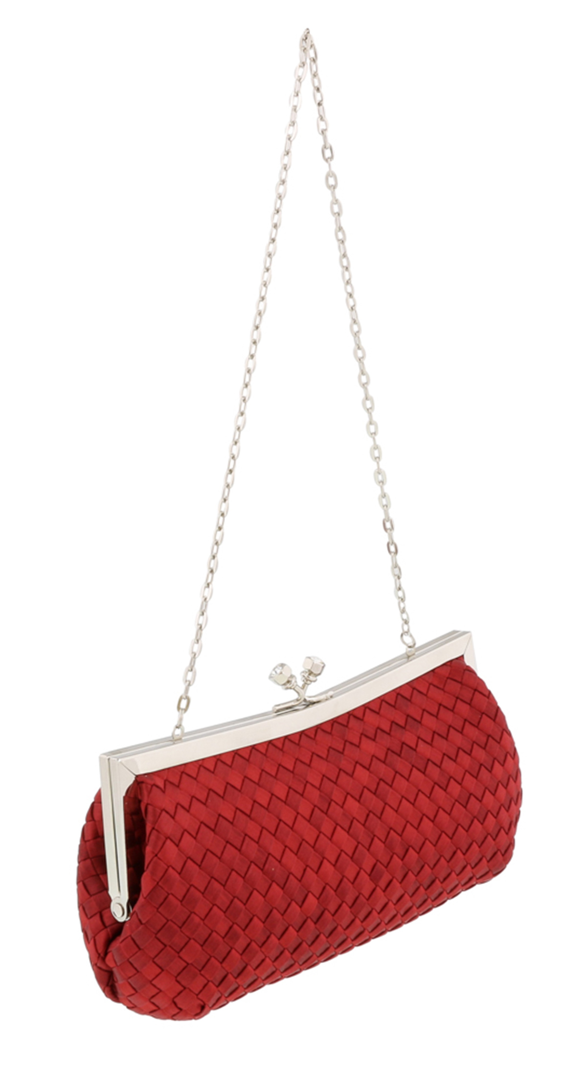 Scheilan  Red Fabric Weave Knot Clutch/Shoulder Bag