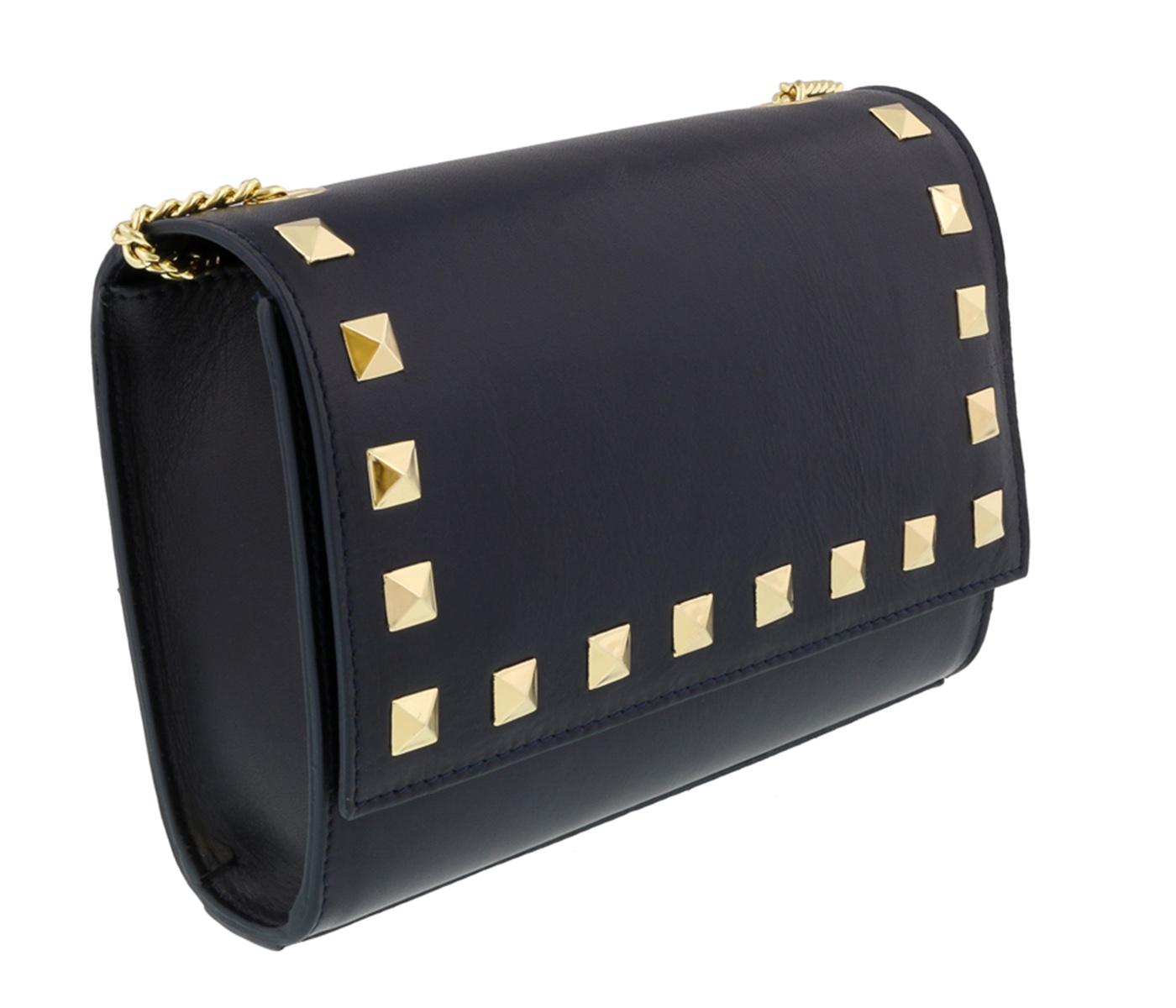 Scheilan  Navy Leather Studded Flap  Shoulder Bag