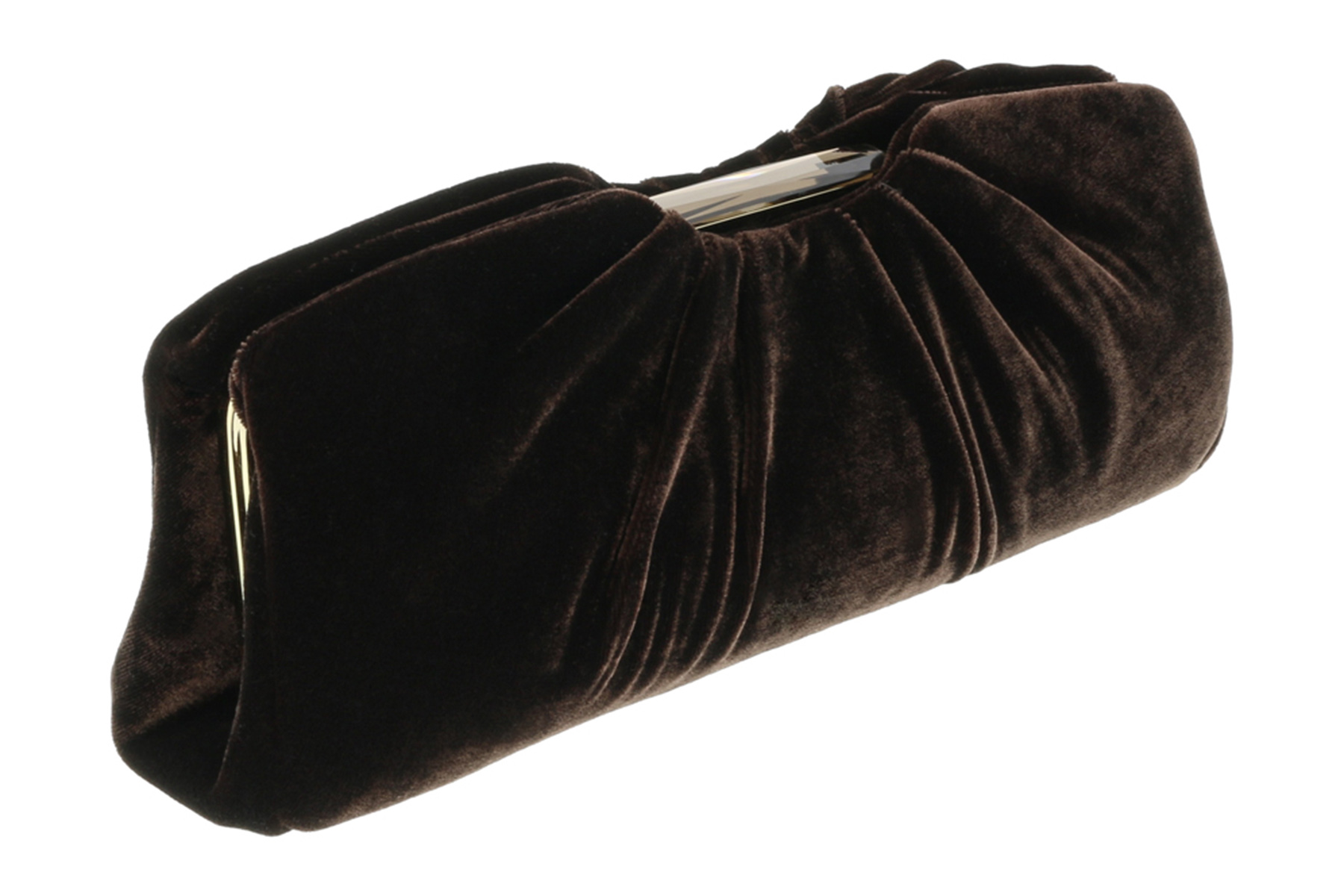 Scheilan  Brown Velvet Ruched Clutch