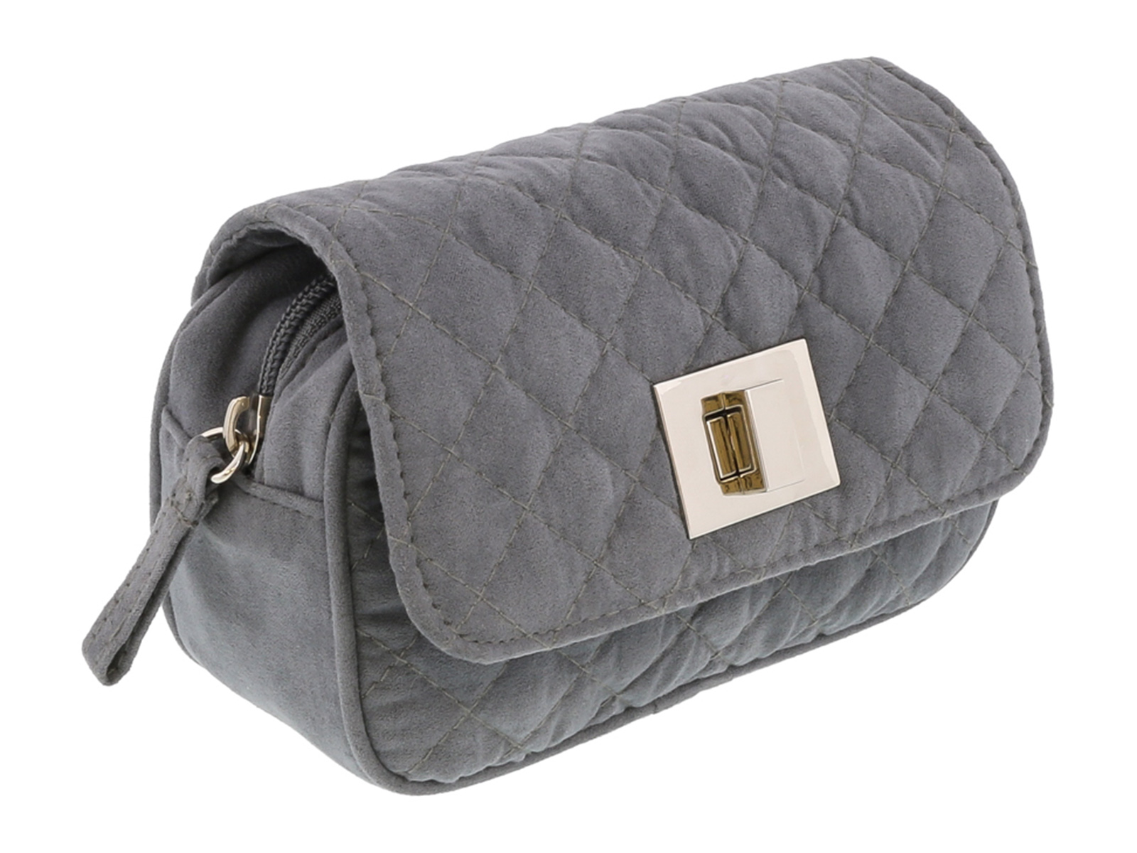 Scheilan  Grey Suede Quilted Boxy Crossbody Bag
