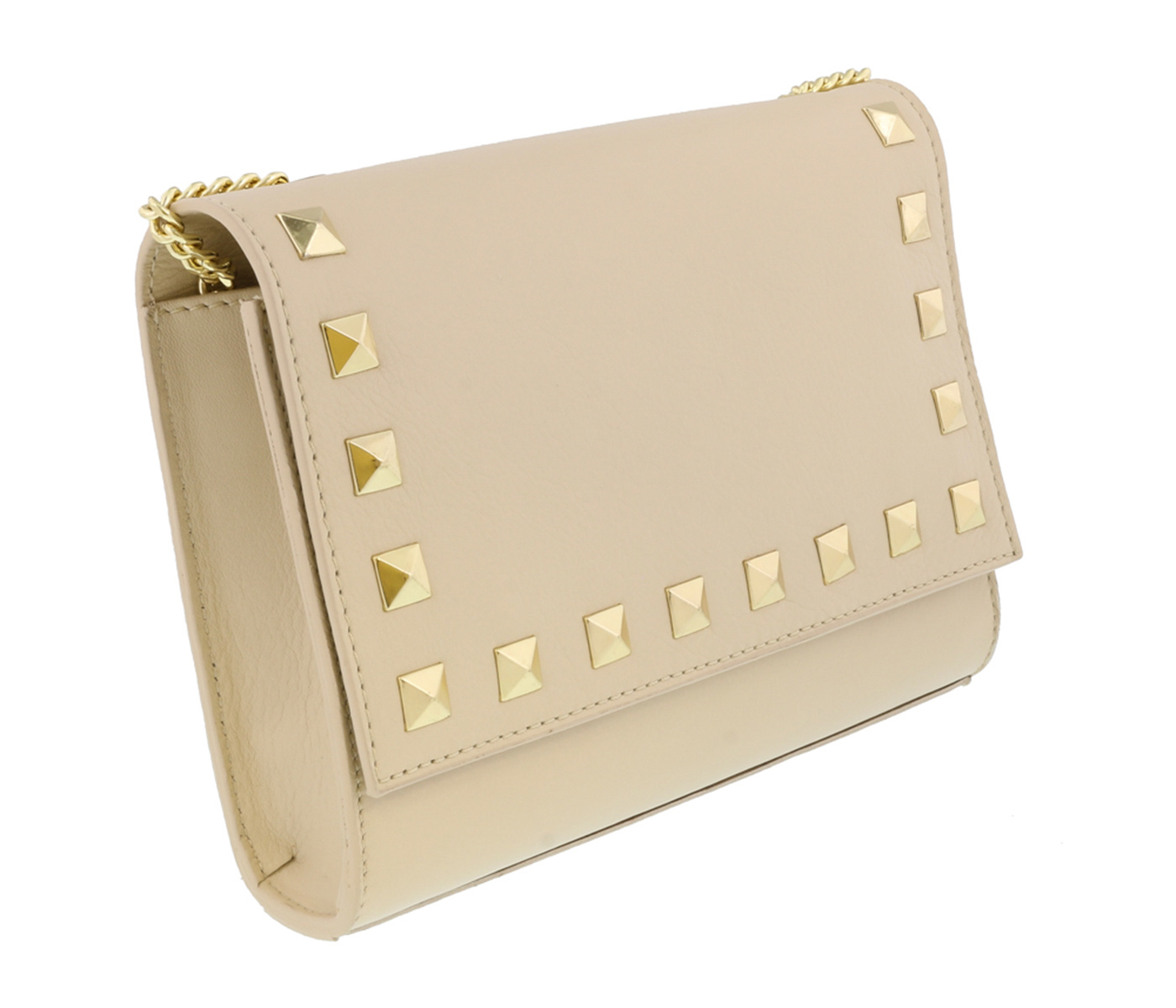 Scheilan  Beige Leather Studded Flap  Shoulder Bag