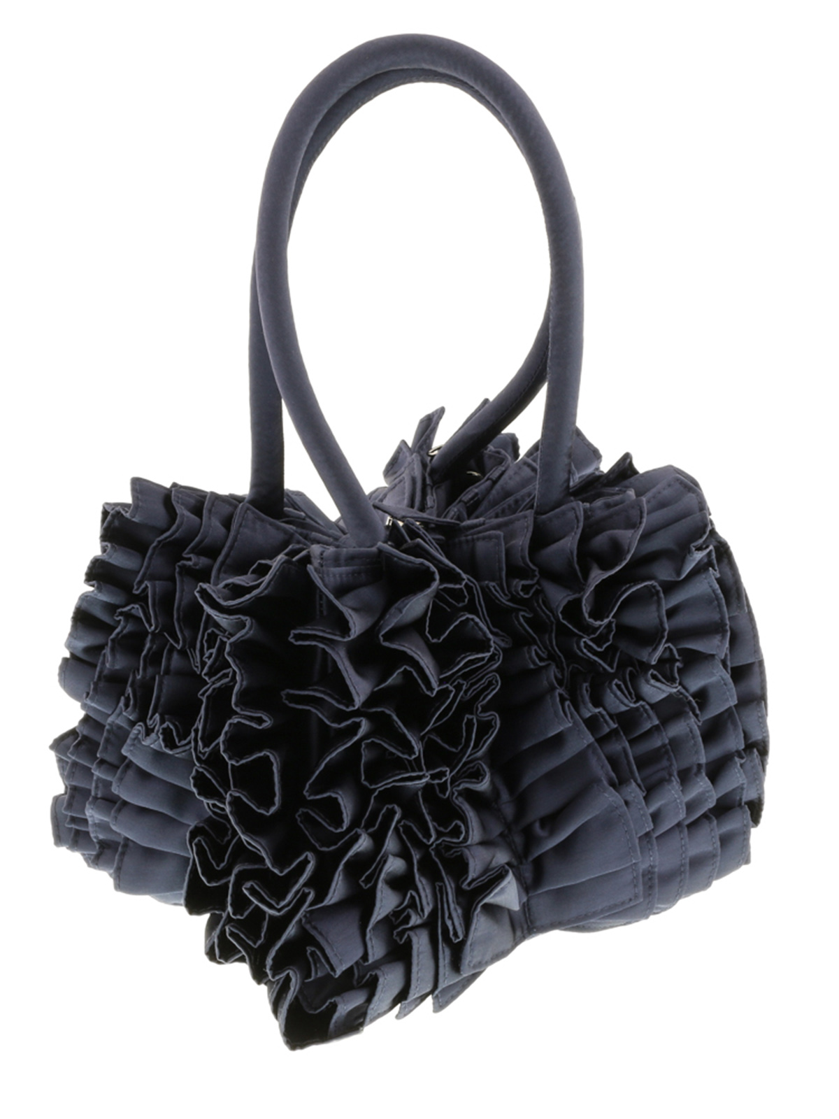 Scheilan  Navy Blue Fabric Ruffled Top Handle Bag
