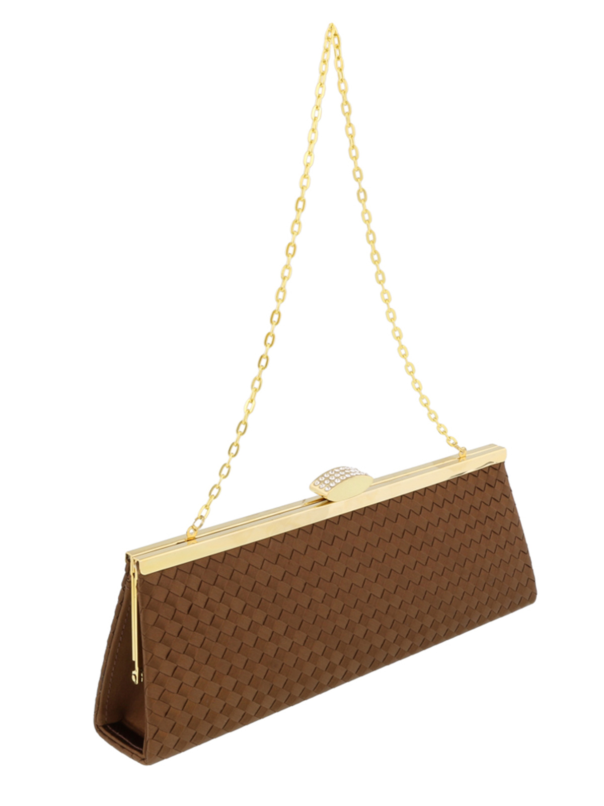 Scheilan  Brown Fabric Weave Clutch/Shoulder Bag