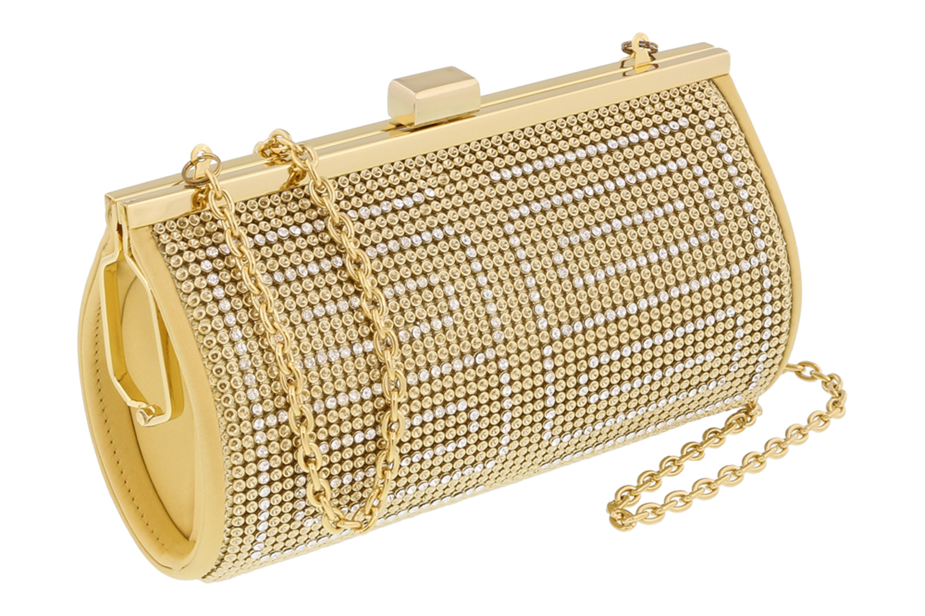 Scheilan  Bright Gold Metal  Crystal Embellished Clutch