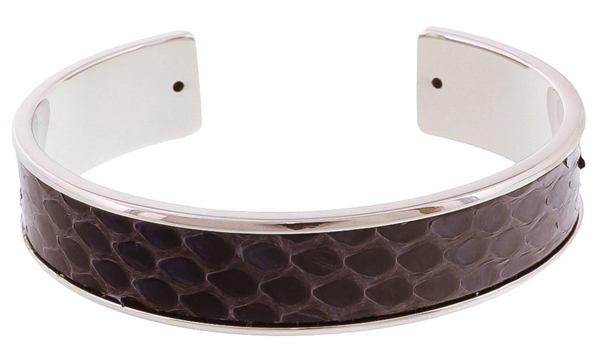 Stamerra MEMAN PITTONE AMAR Navy/Silver Genuine Python Bracelet