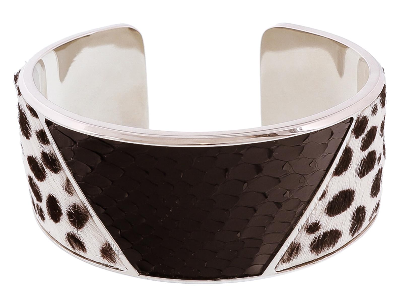 Stamerra PITTONE DALMA Black/White Genuine Python Bracelet