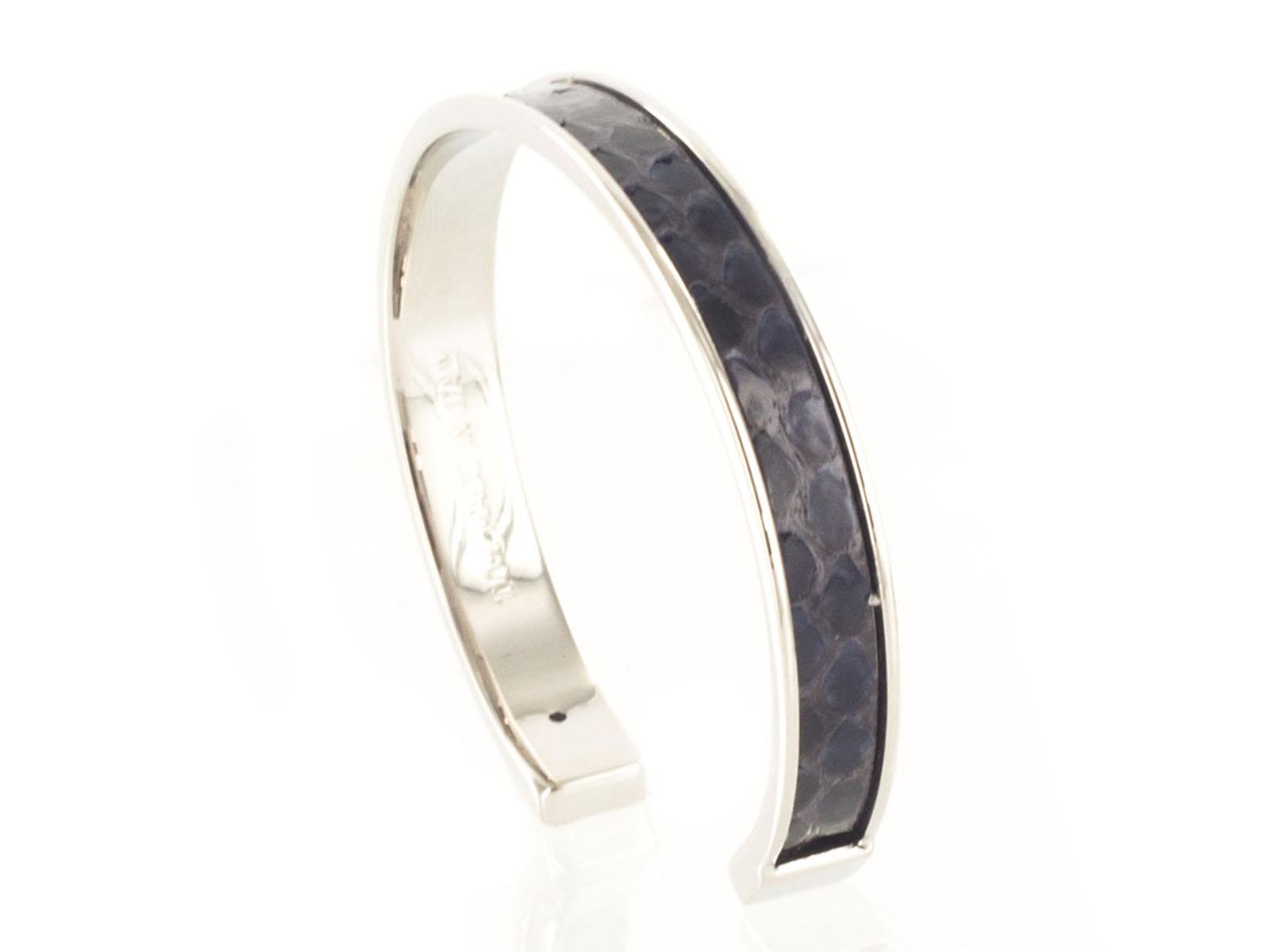 Stamerra PICCOLO PITTONE AMAR Navy Blue/Silver Genuine Python Bracelet