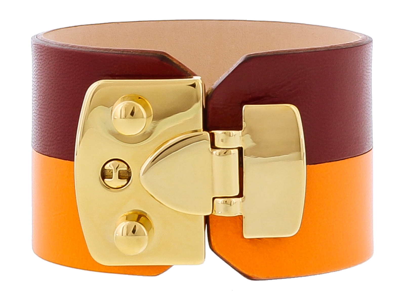 Stamerra BOSSA NARANCIA Bordeaux/Orange Genuine Leather Cuff Bracelet