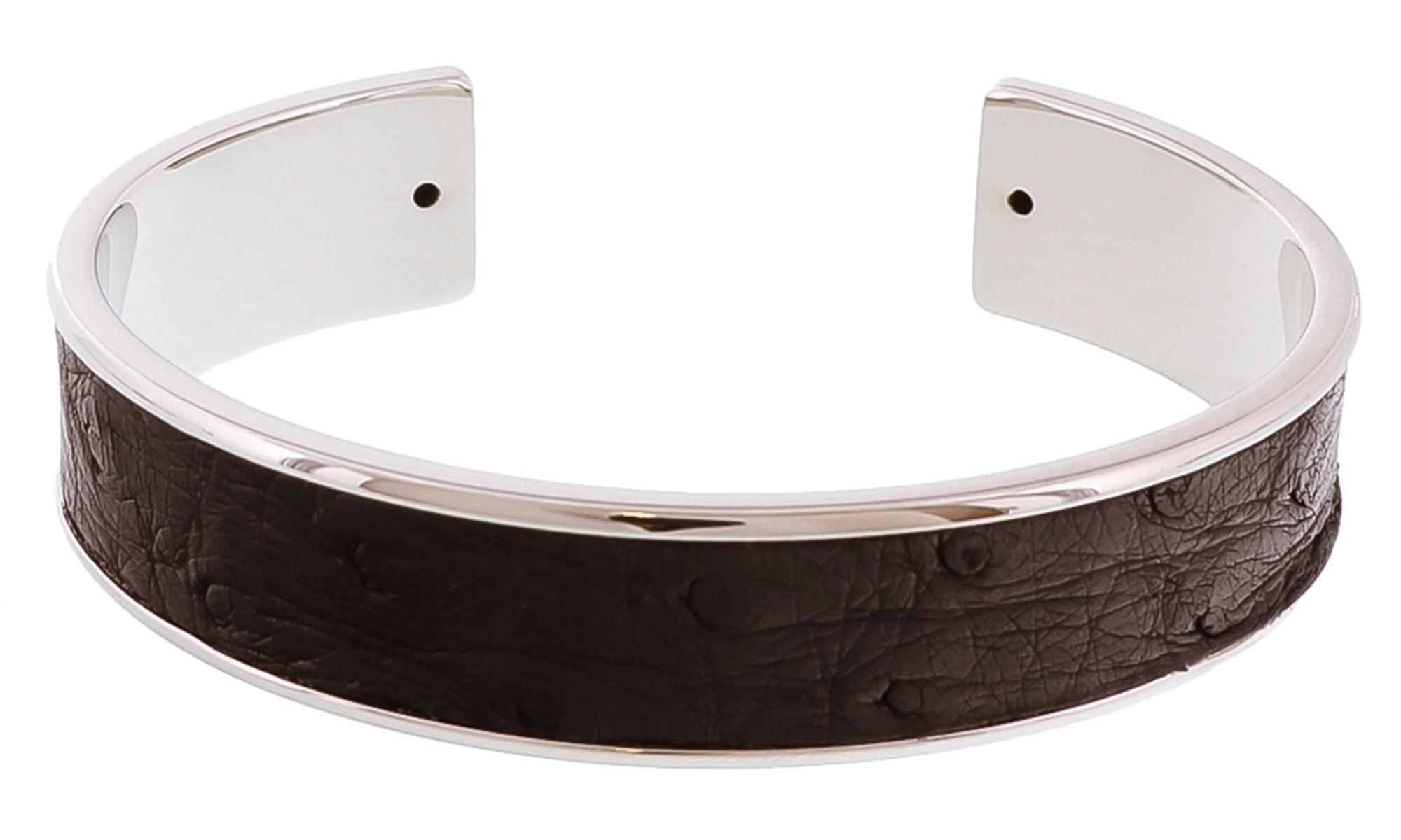 Stamerra MEMAN STRUZZO ANR Black/Silver Genuine Ostrich Bracelet