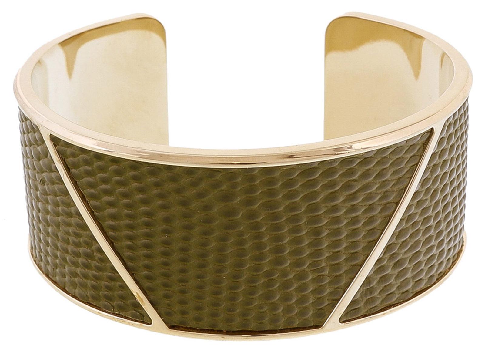 Stamerra LIZAR VERDE Green Genuine Leather Cuff Bracelet