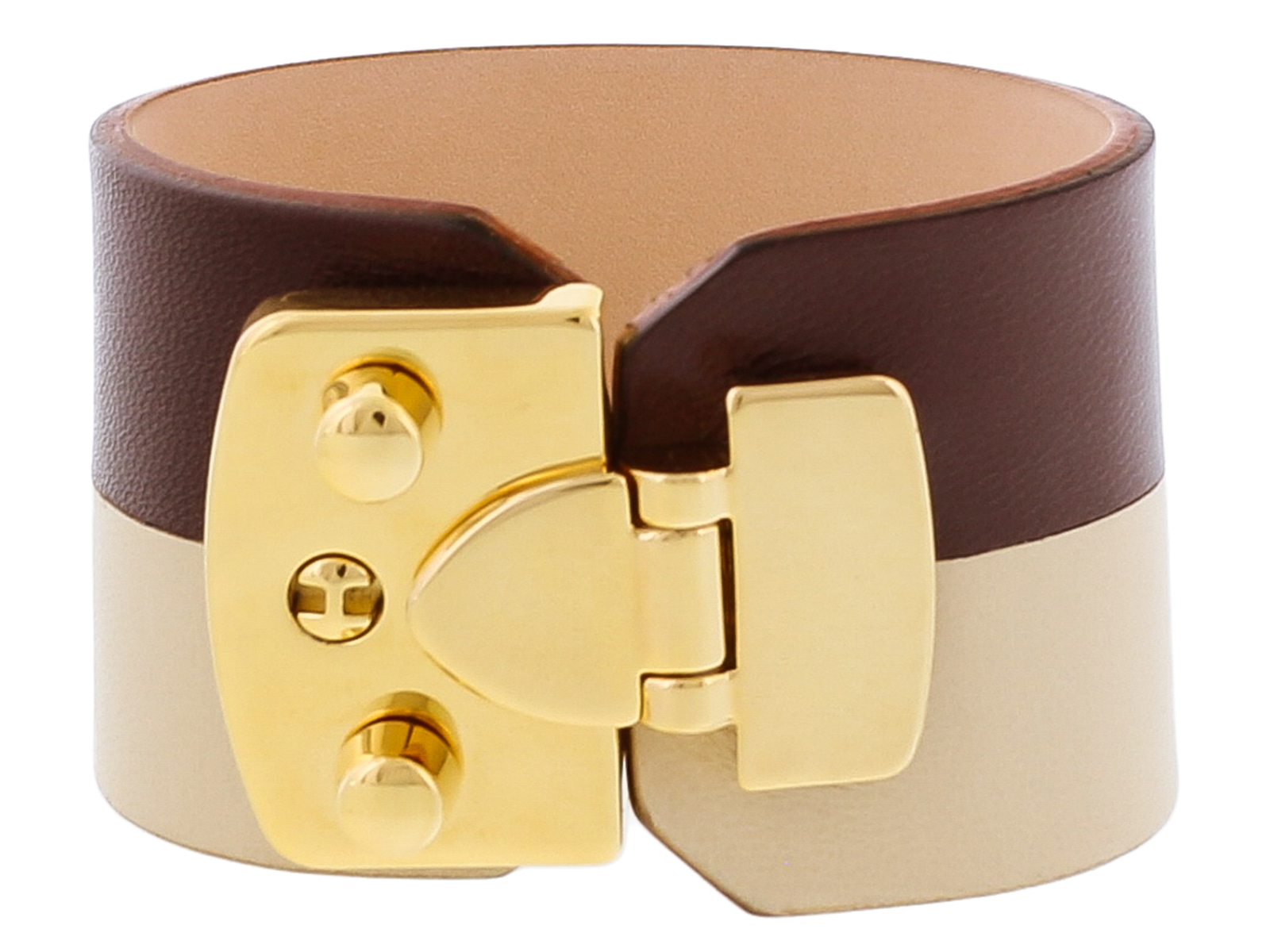 Stamerra BOSSA CIOCCO Chocolate/Beige Genuine Leather Cuff Bracelet