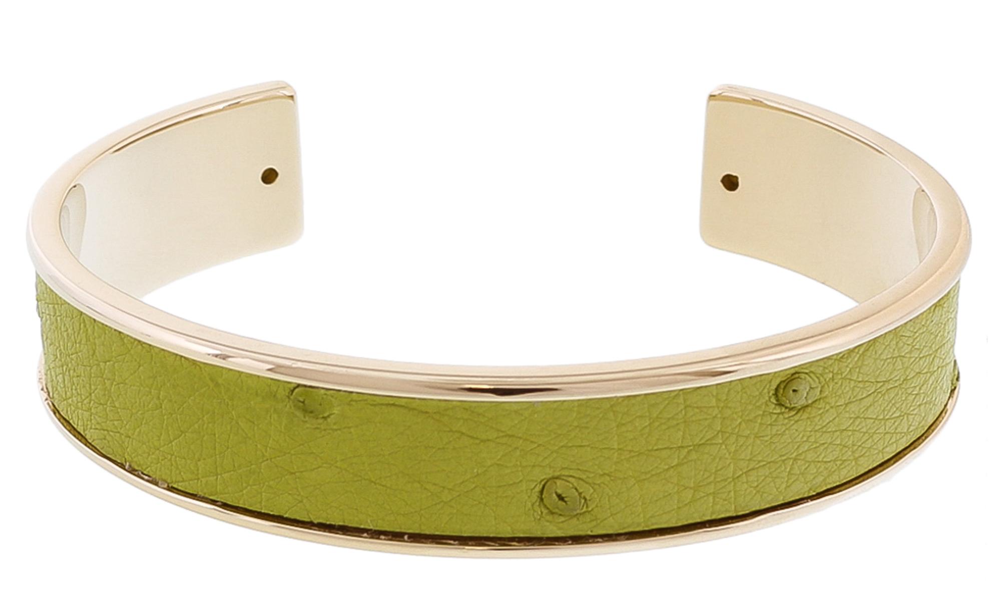 Stamerra MEMAN STRUZZO MR Green Genuine Ostrich Bracelet