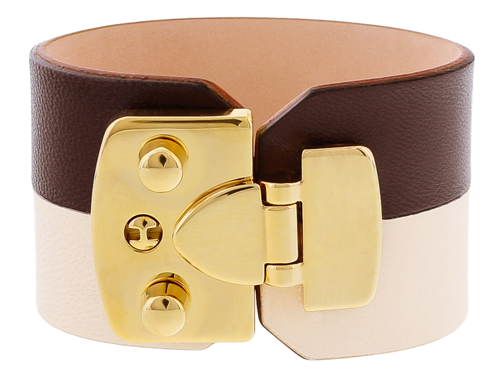 Stamerra BOSSA CREMA Chocolate/Cream Genuine Leather Cuff Bracelet