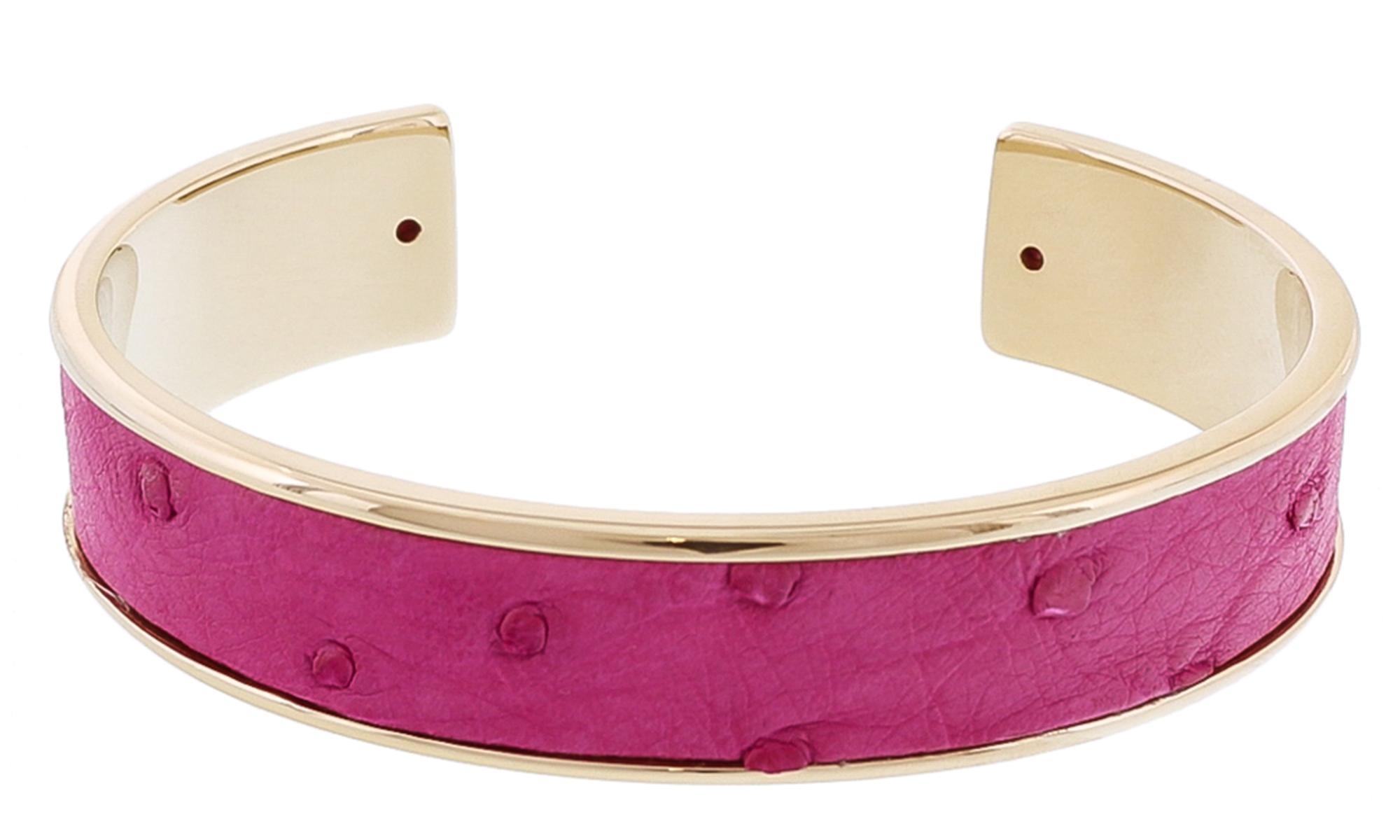 Stamerra MEMAN STRUZZO FU Fuschia Genuine Ostrich Bracelet