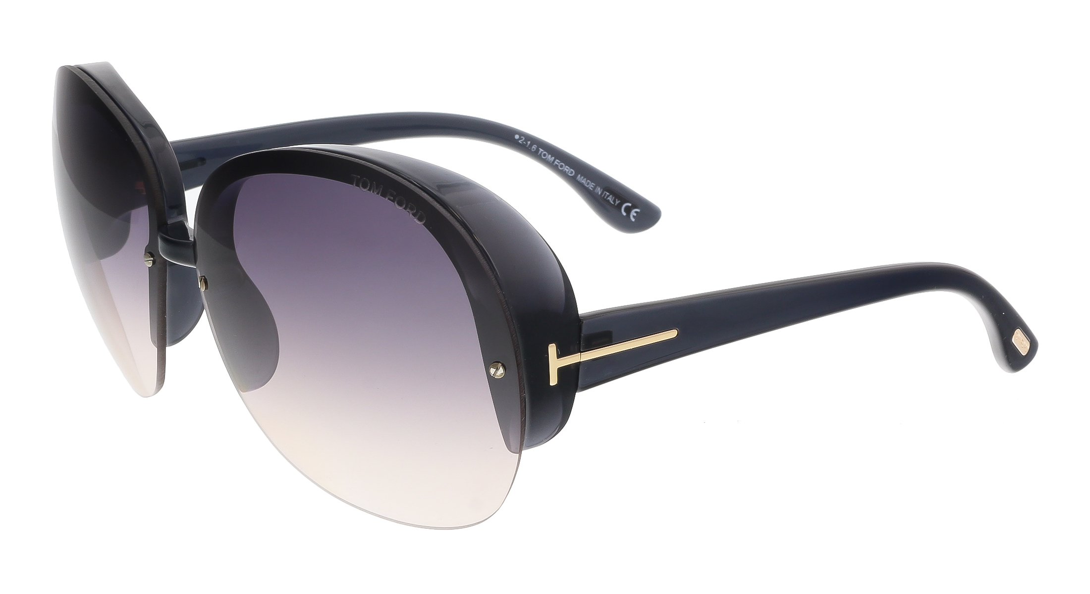 Tom Ford FT0458 20B MARINE Black Round Sunglasses