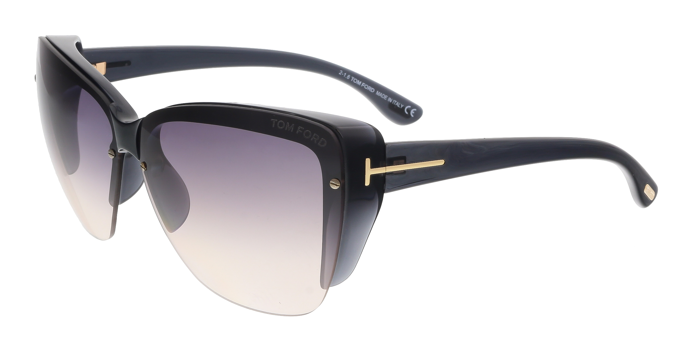 Tom Ford FT0457 20B POPPY Black Square Sunglasses