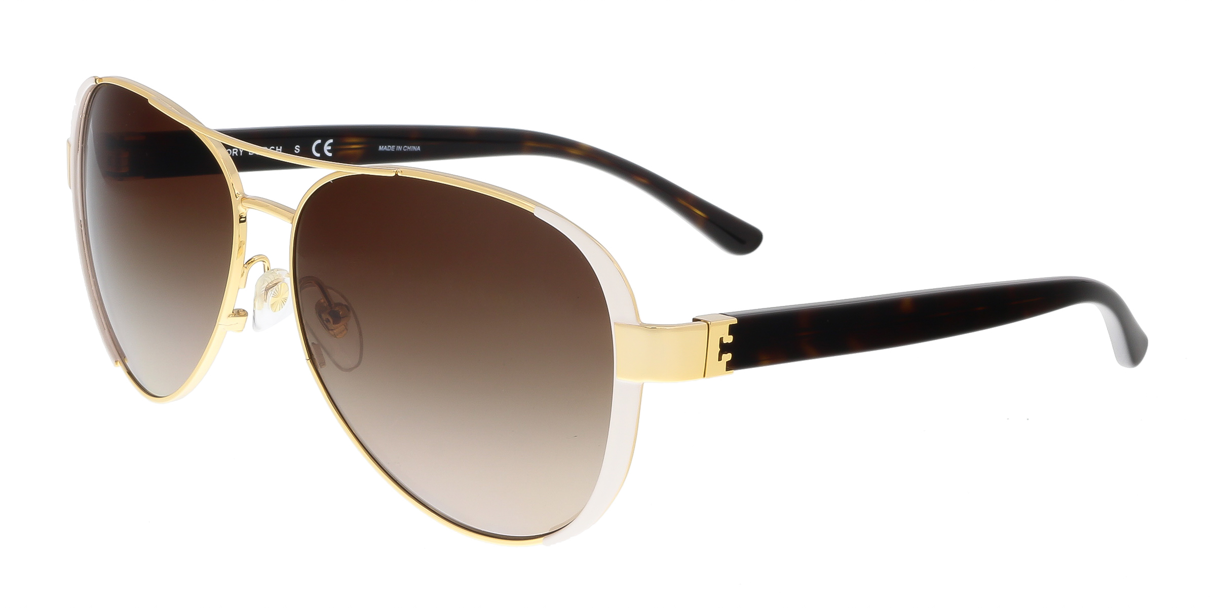 Tory Burch TY6052 320113 Gold/White Aviator Sunglasses
