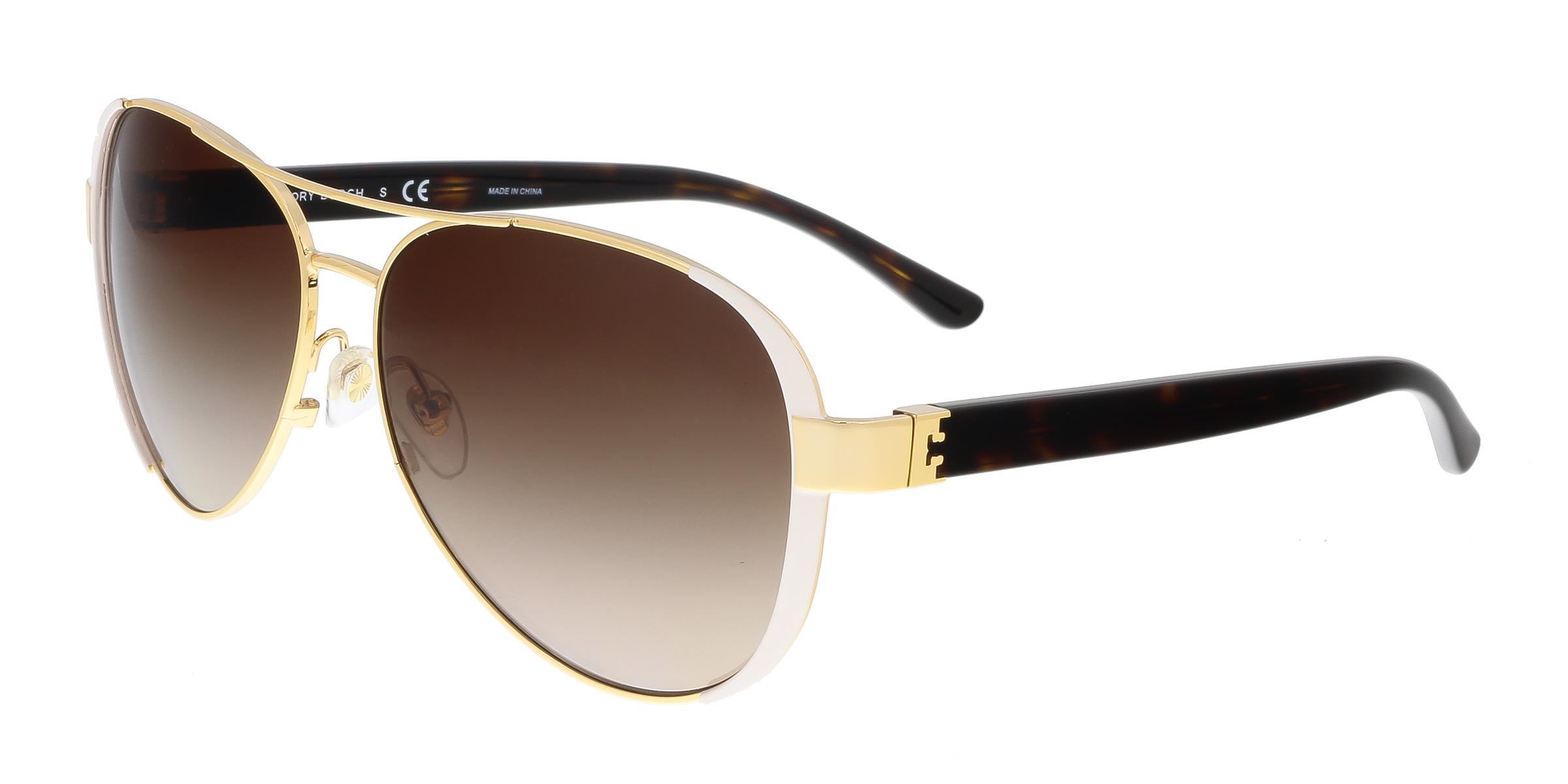 Tory Burch TY6052 320113 Gold/White Aviator Sunglasses
