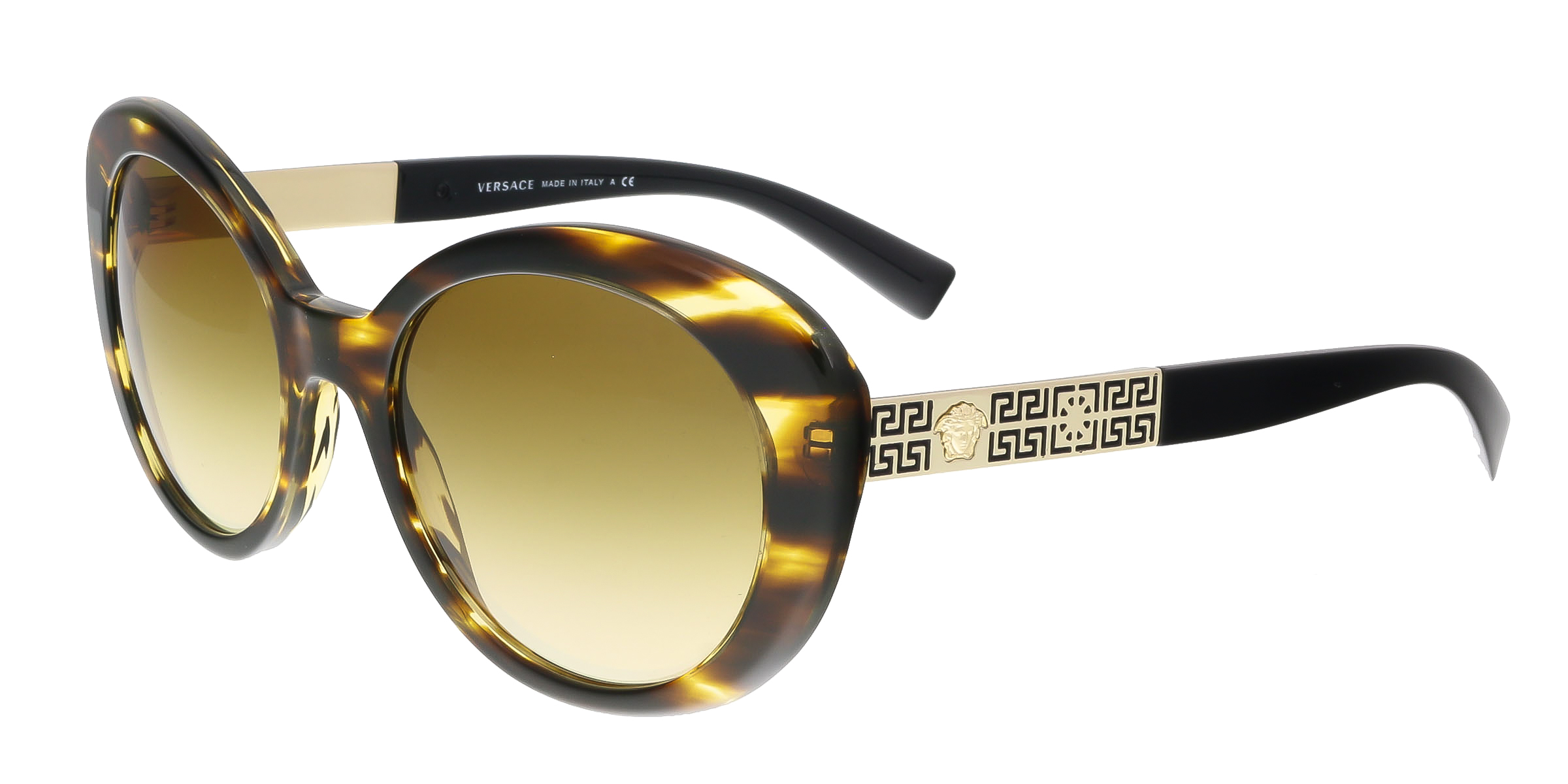 Versace VE4318 52022L Striped Havana Oval Sunglasses