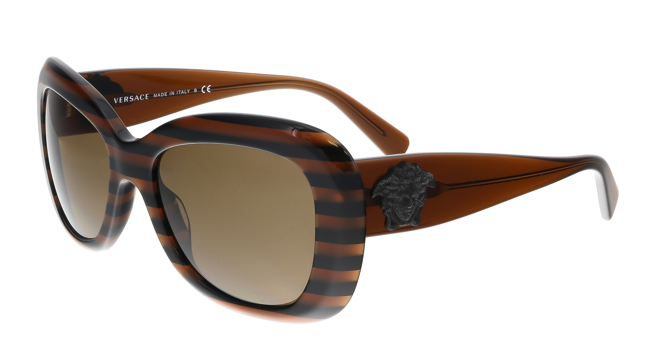 Versace VE4317 518773 Striped Brown Rectangle Glitter Medusa Sunglasses