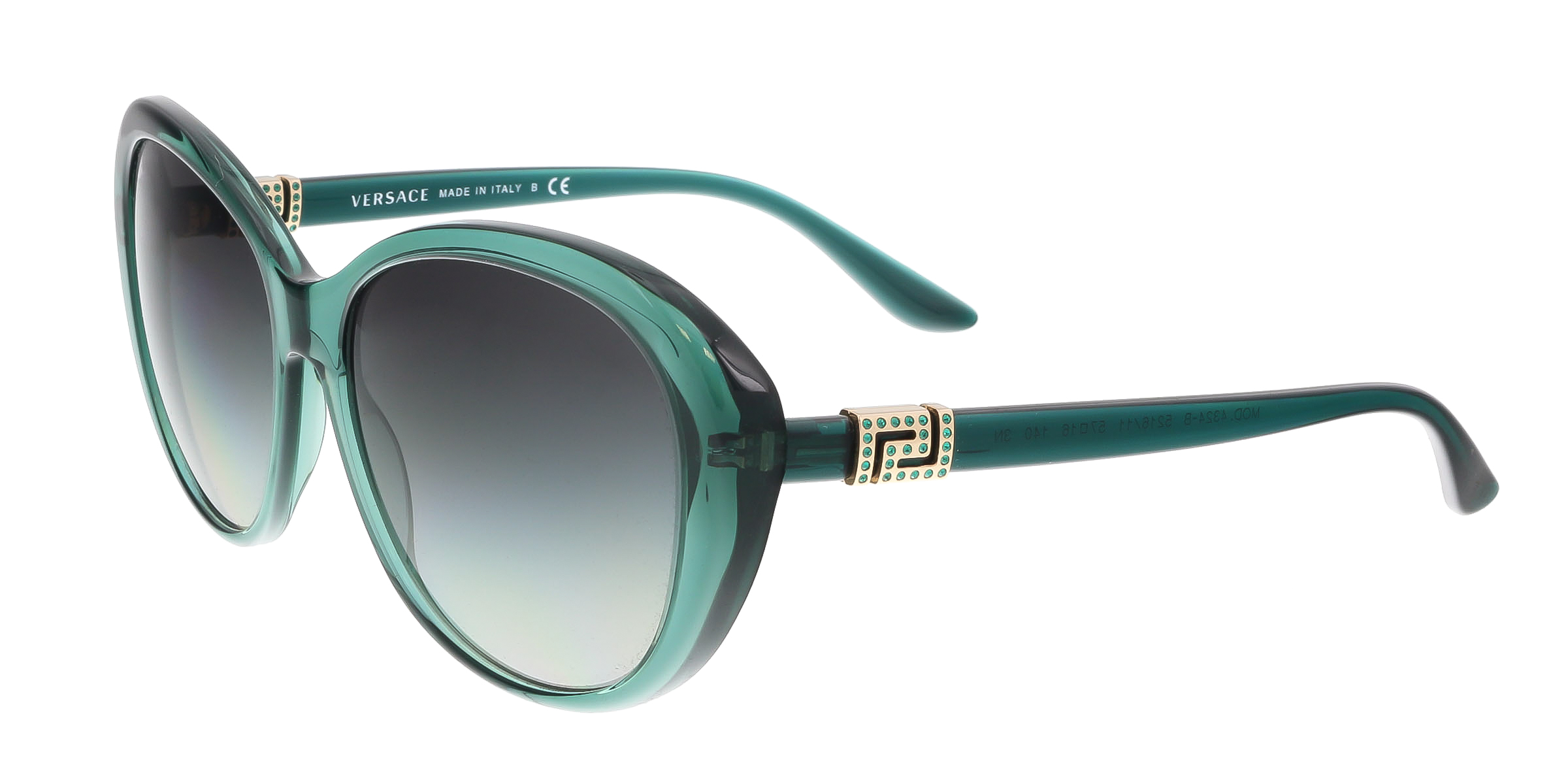 Versace VE4324B 521611 Transparent Green Oval  Greek Key Chic Sunglasses