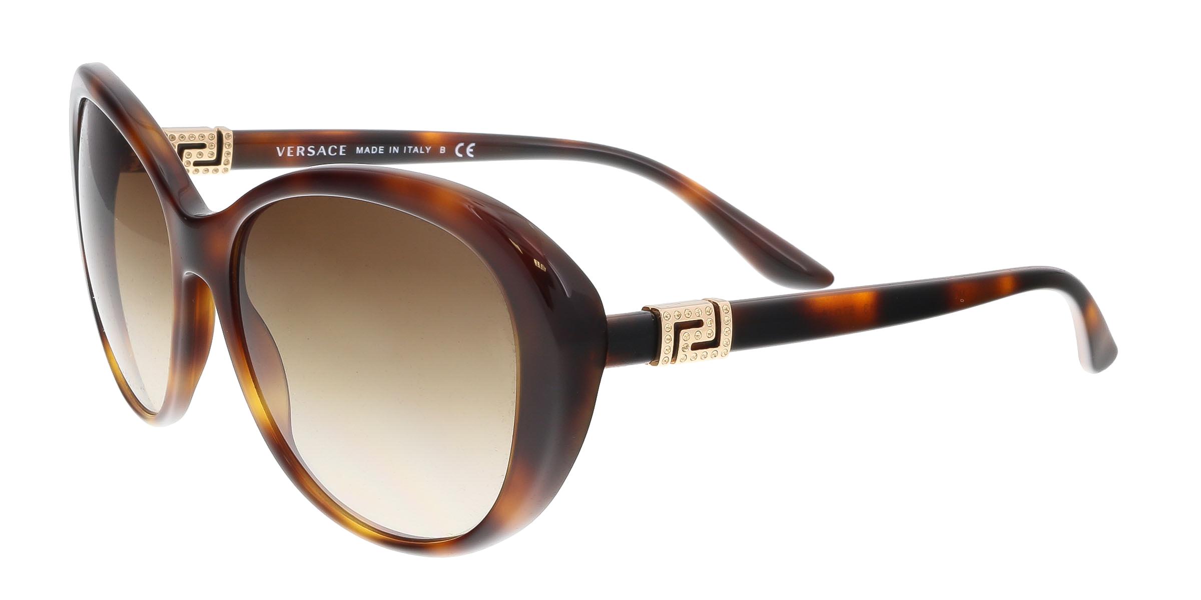 Versace VE4324B 521713 Havana Oval  Greek Key Chic Sunglasses