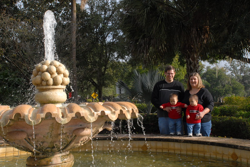 At the fountain.