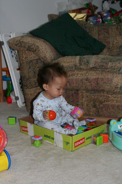 A box, a block and a ball.  A little boy's best friends!  (Matthew)